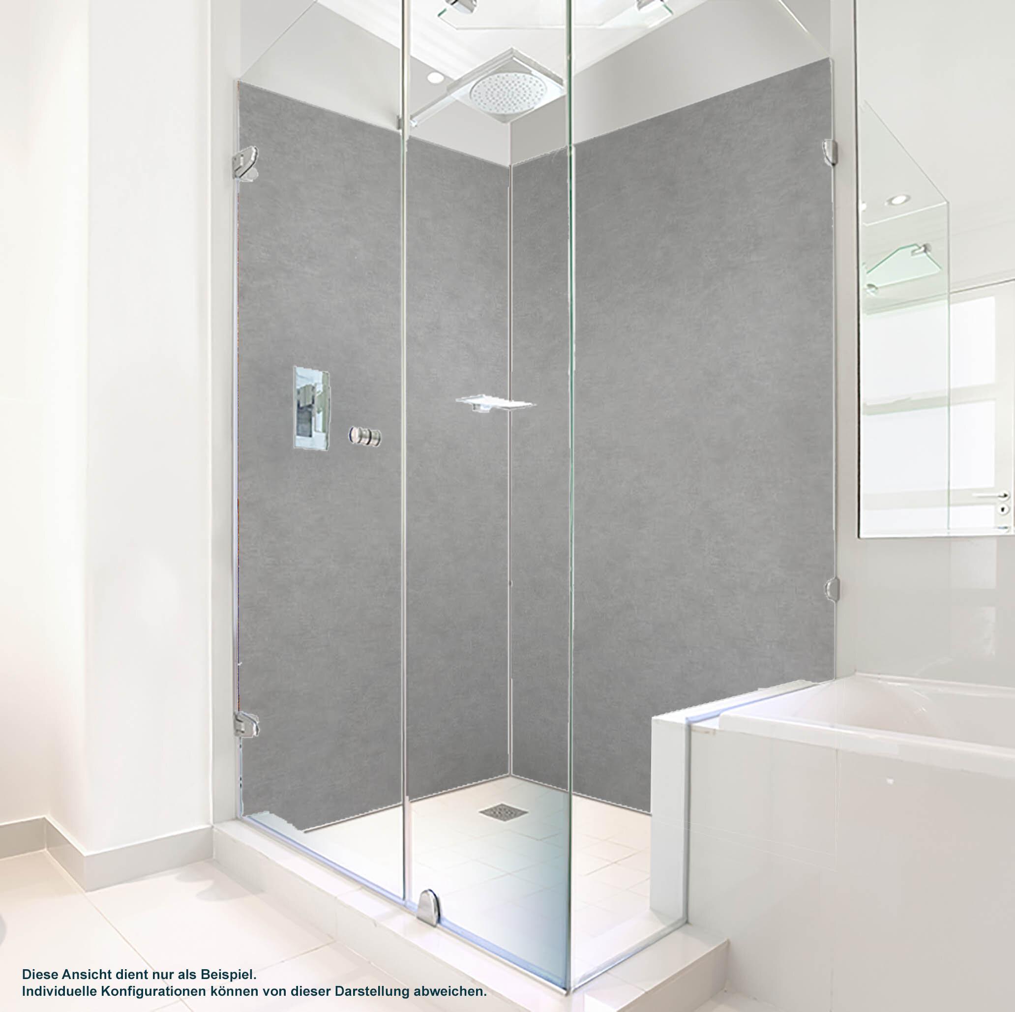 Dusche PlateART Duschrückwand mit Motiv Beton glatt Hellgrau