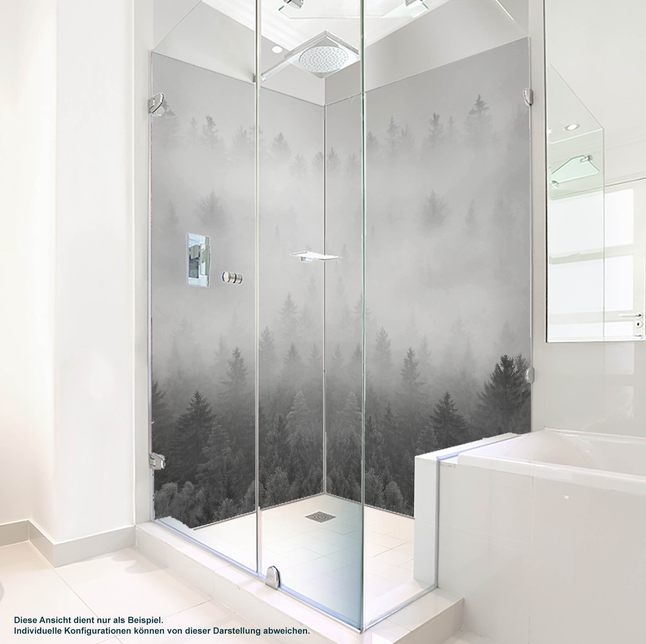 Dusche PlateART Duschrückwand mit Motiv Design Nebelwald Grau