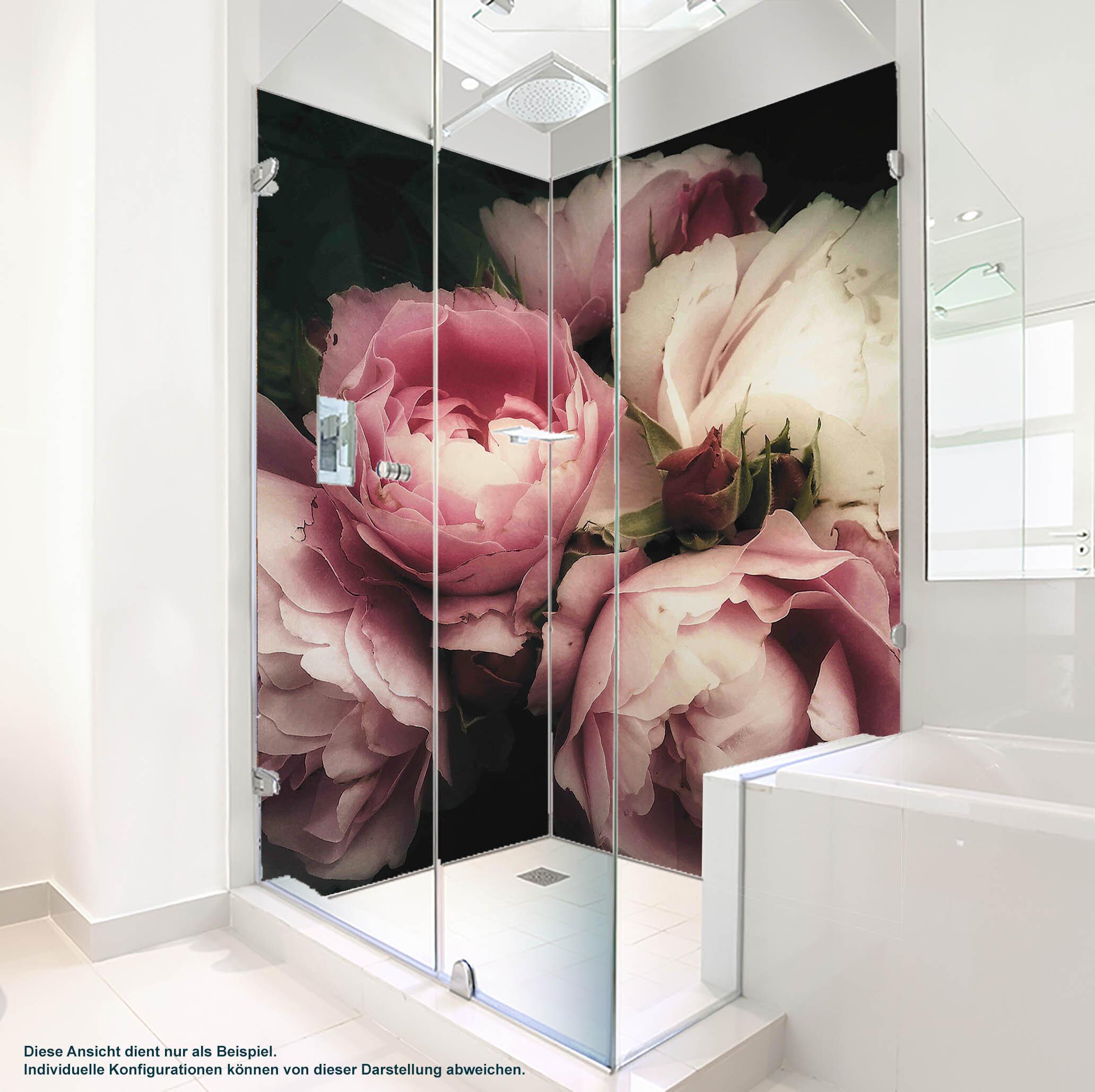 Dusche PlateART Wandverkleidung mit Motiv Rosen