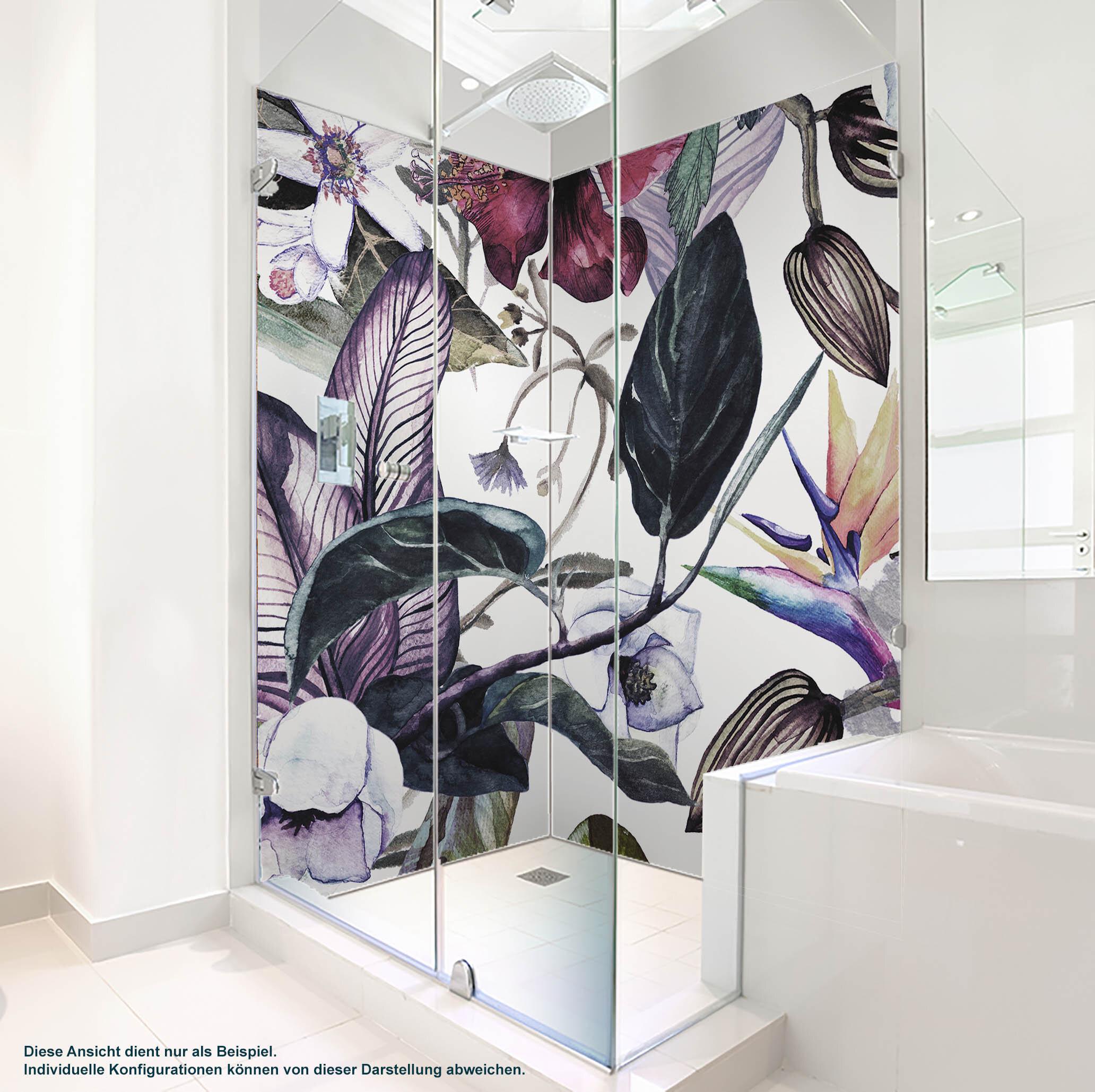 Dusche PlateART Wandverkleidung mit Motiv Blätter und Blüten