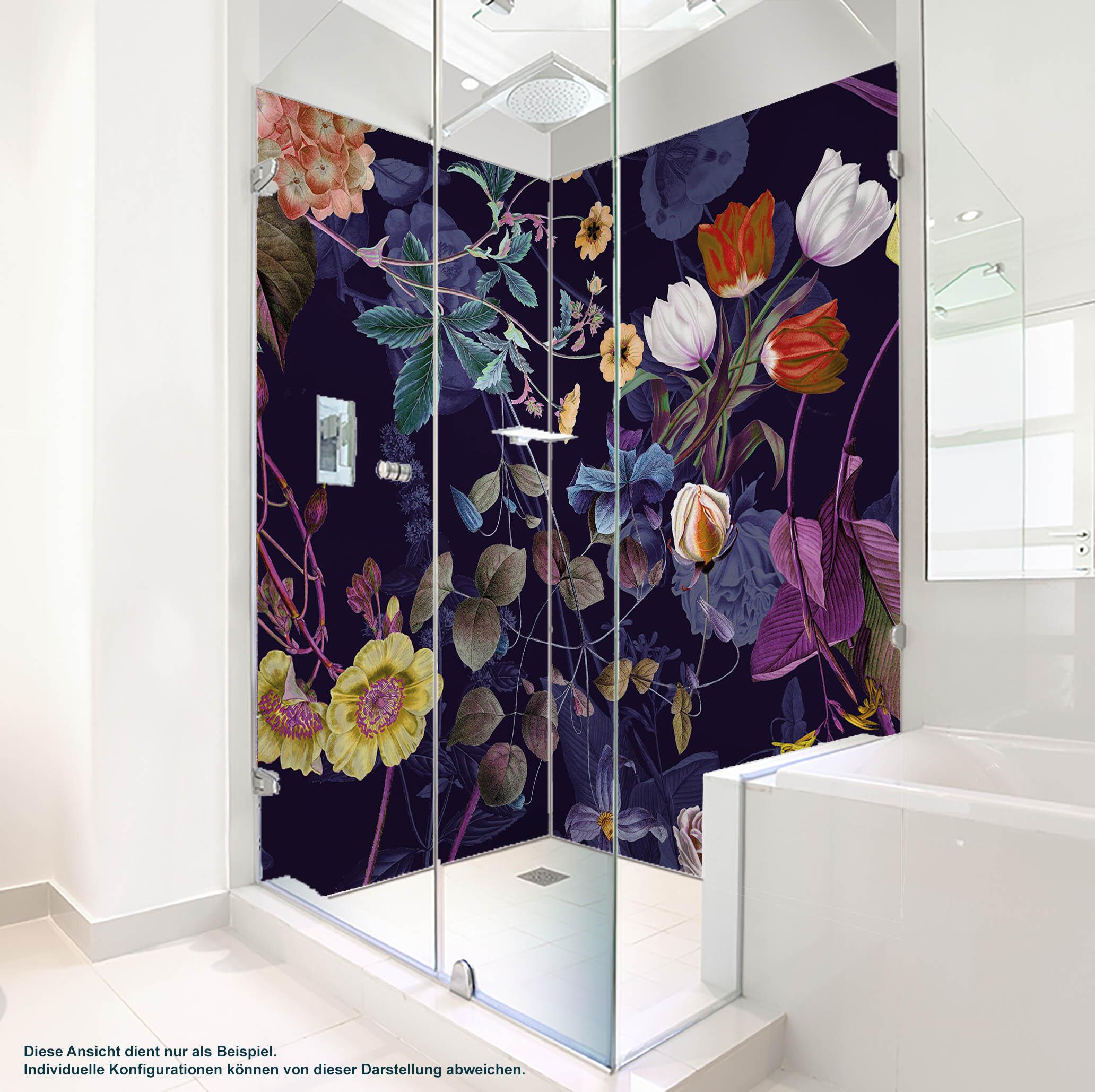 Dusche PlateART Wandverkleidung mit Motiv Blüten und Blumen