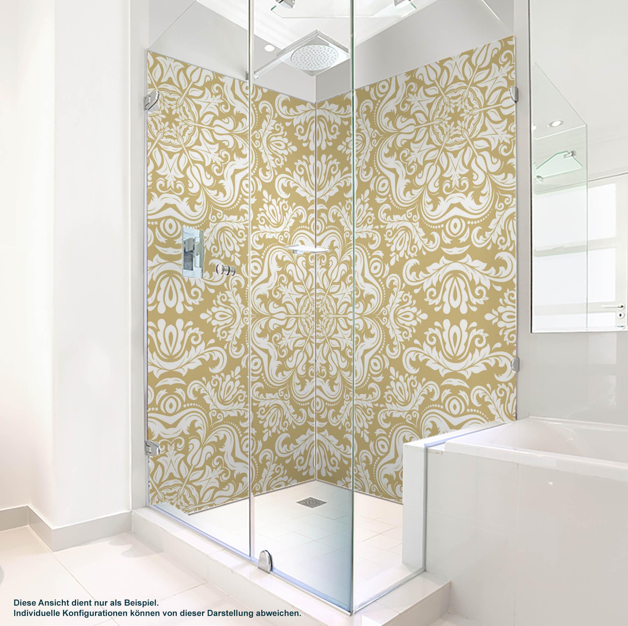 Dusche PlateART Duschrückwand mit Motiv Ornament Beige