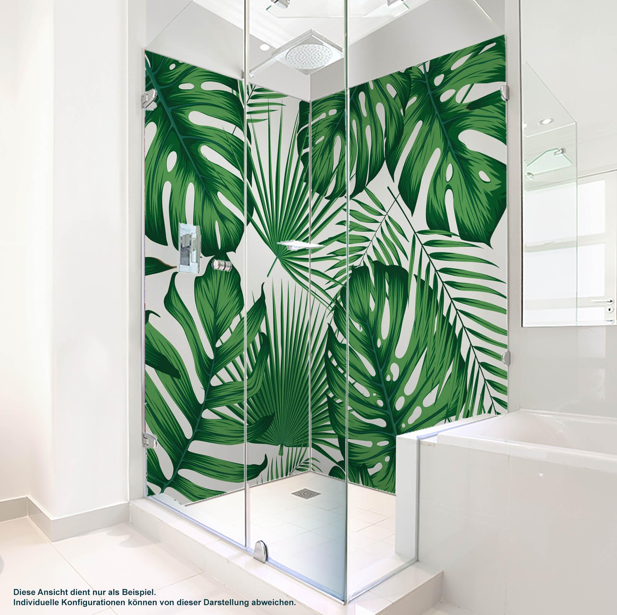 Dusche PlateART Wandverkleidung mit Motiv Monstera Blätter