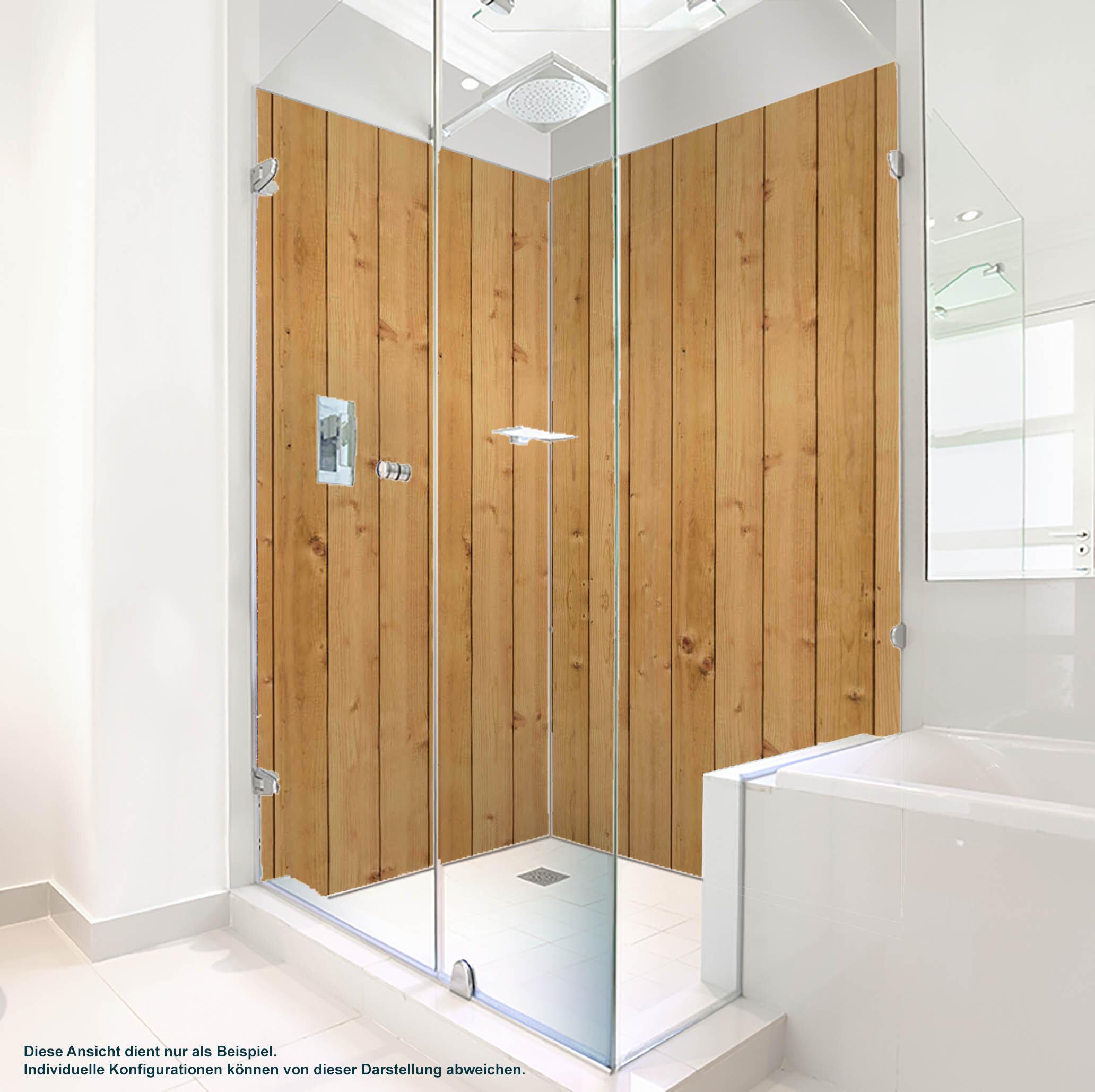 Dusche PlateART Duschrückwand mit Motiv Holz braune Bretter