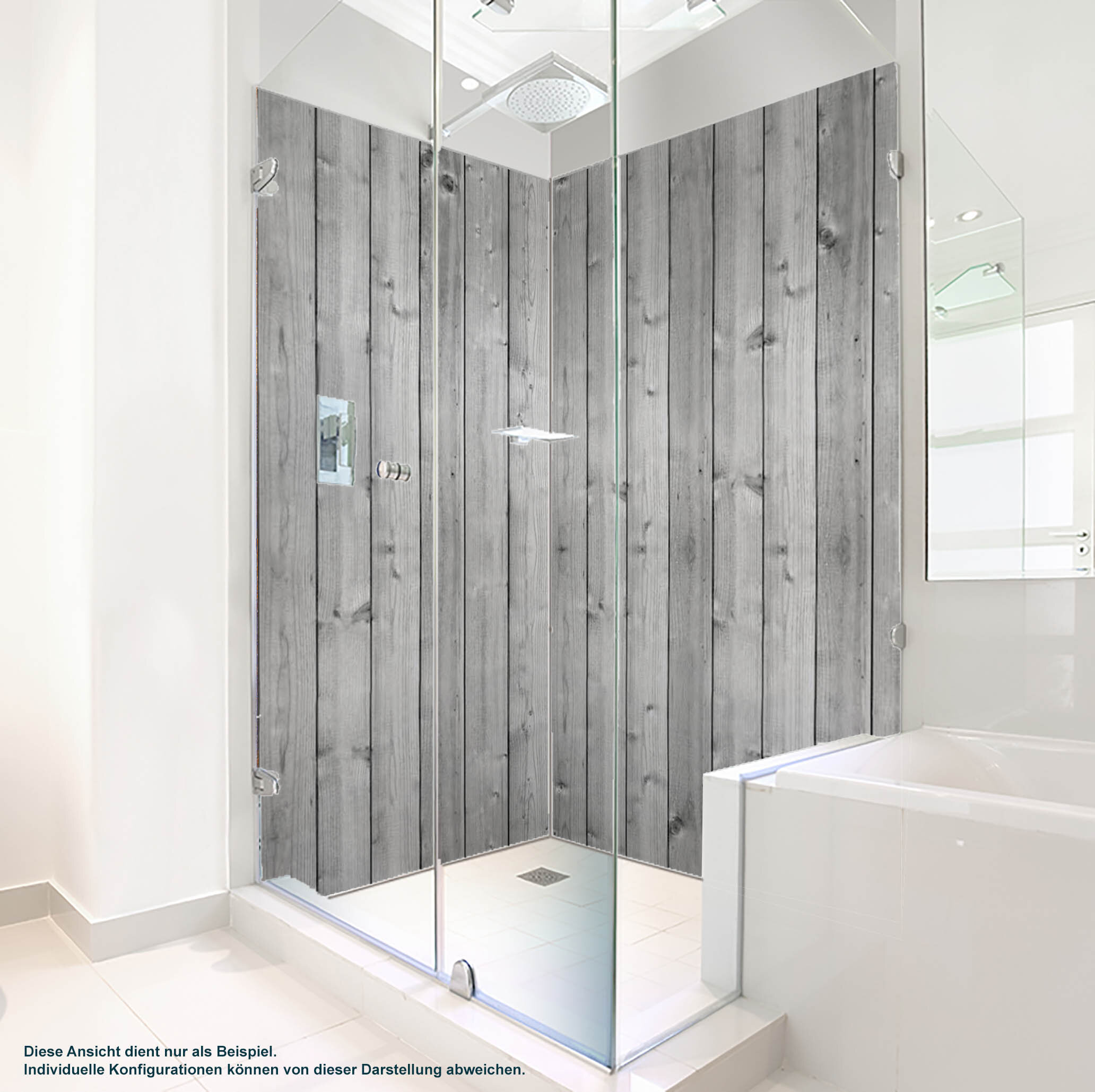 Dusche PlateART Duschrückwand mit Motiv Holz graue Bretter