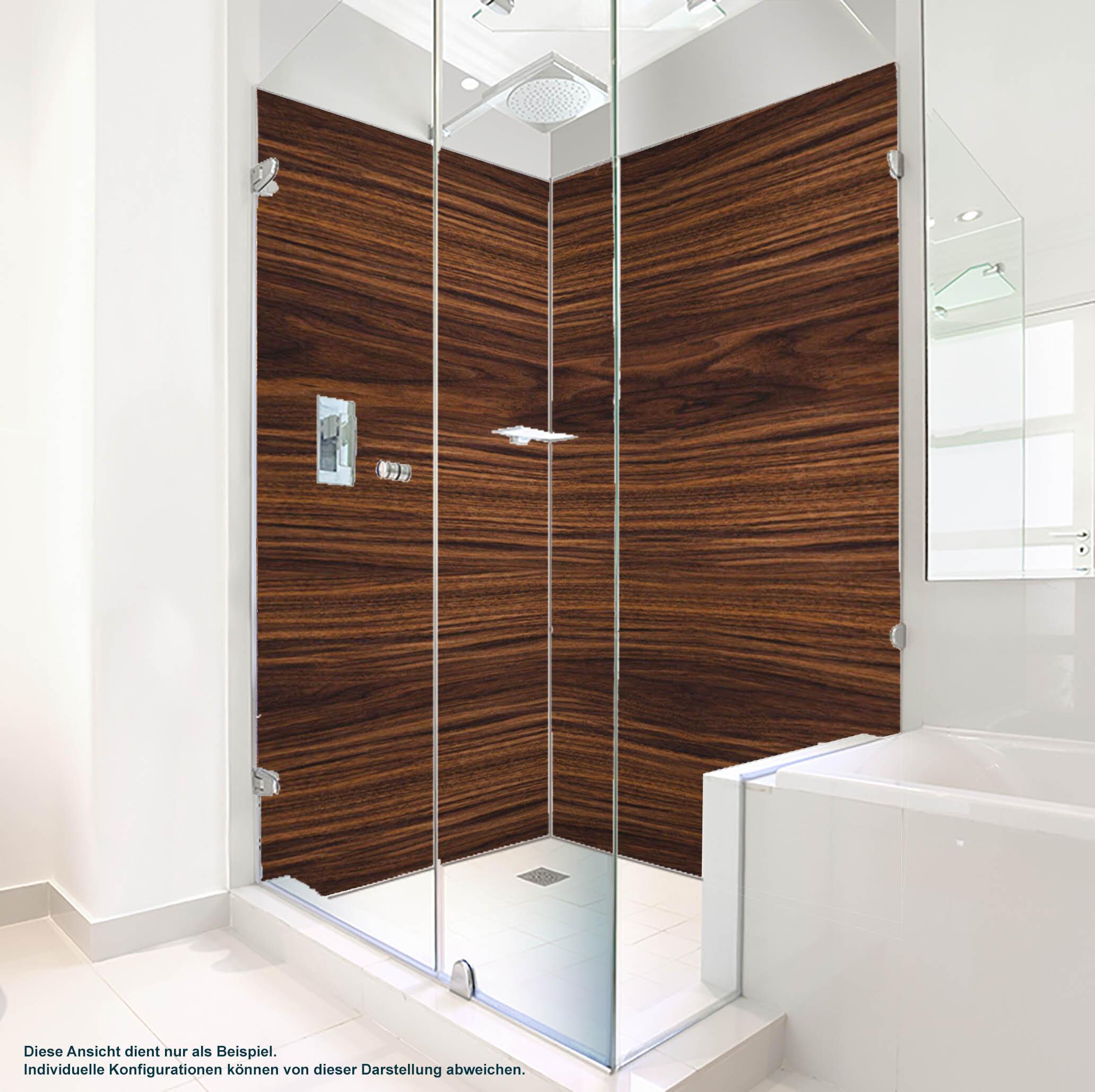 Dusche PlateART Duschrückwand mit Motiv Holzoptik Braun
