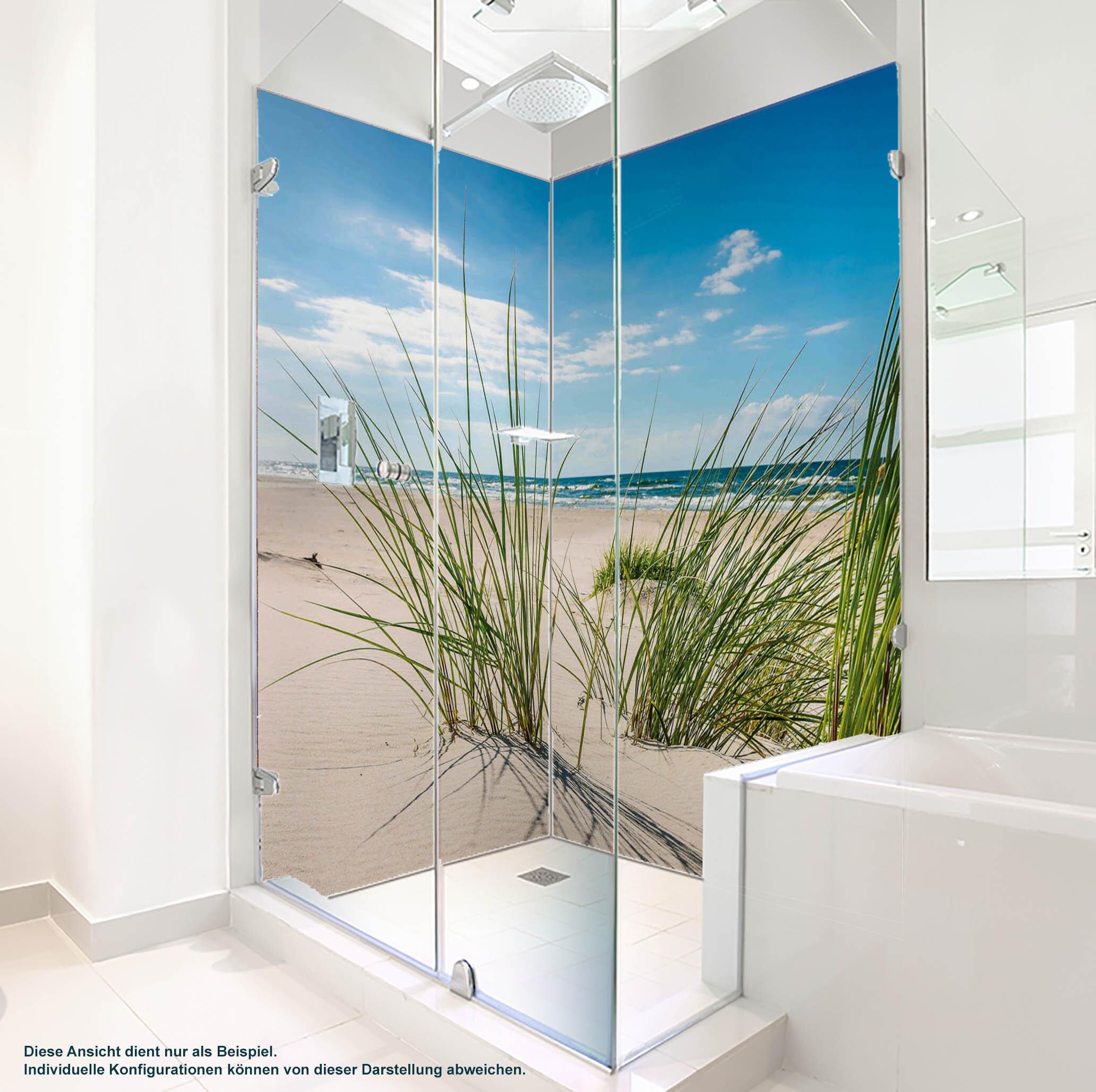 Dusche PlateART Duschrückwand mit Motiv Strand und Meer Strand Gras