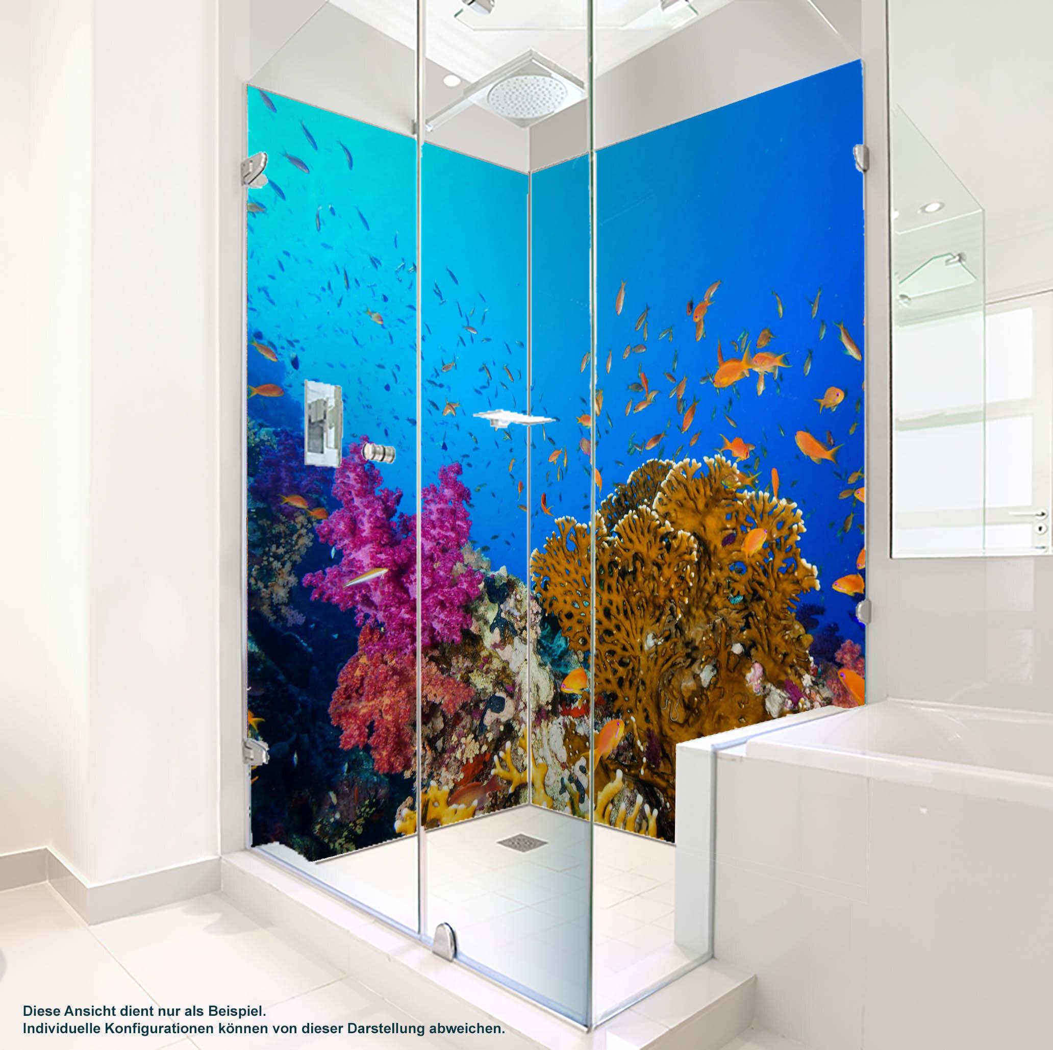 Dusche PlateART Duschrückwand mit Motiv Strand und Meer Unterwasser