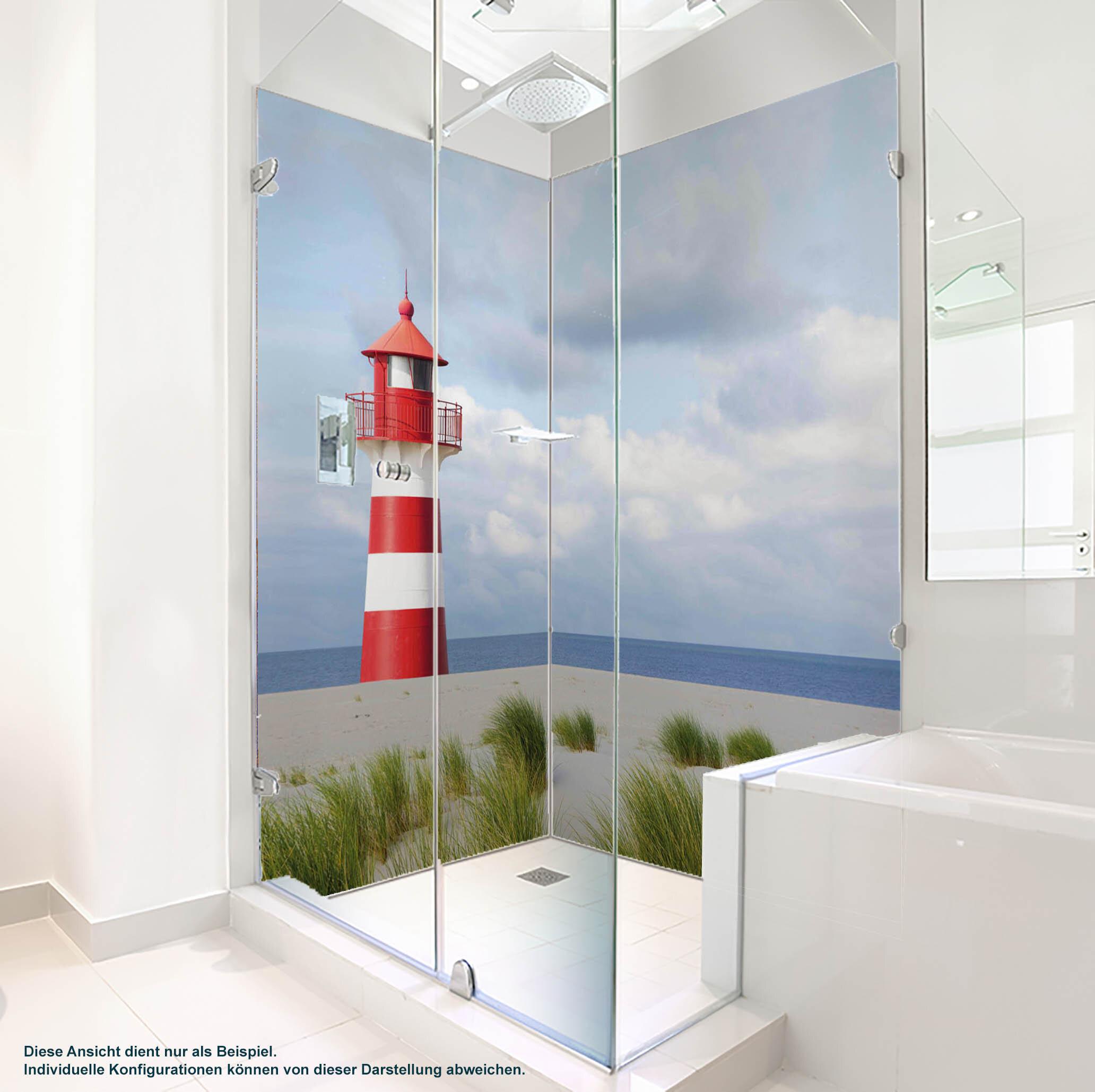 Dusche PlateART Duschrückwand mit Motiv Strand und Meer Leuchtturm