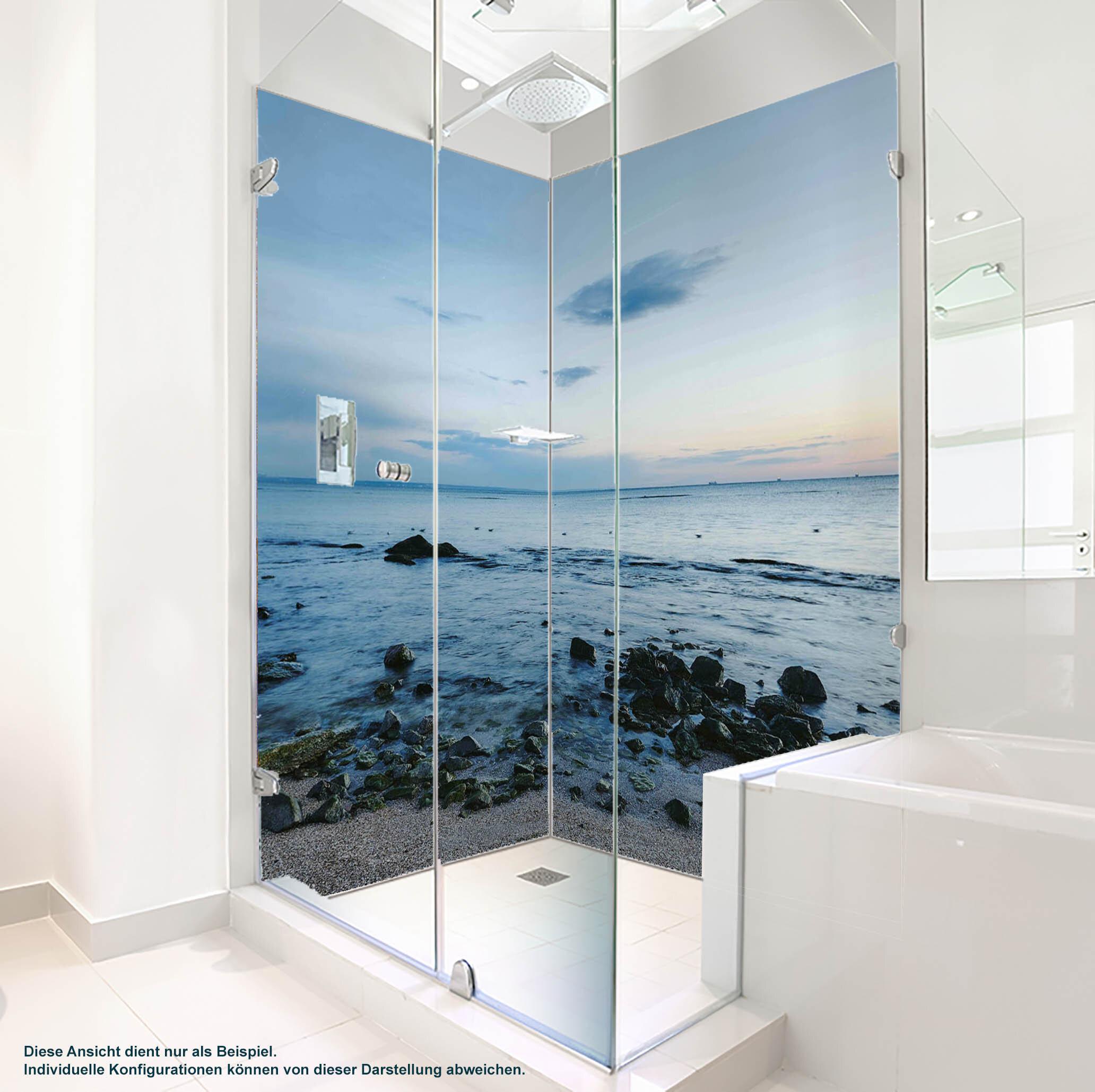 Dusche PlateART Duschrückwand mit Motiv Strand und Meer Kiesstrand
