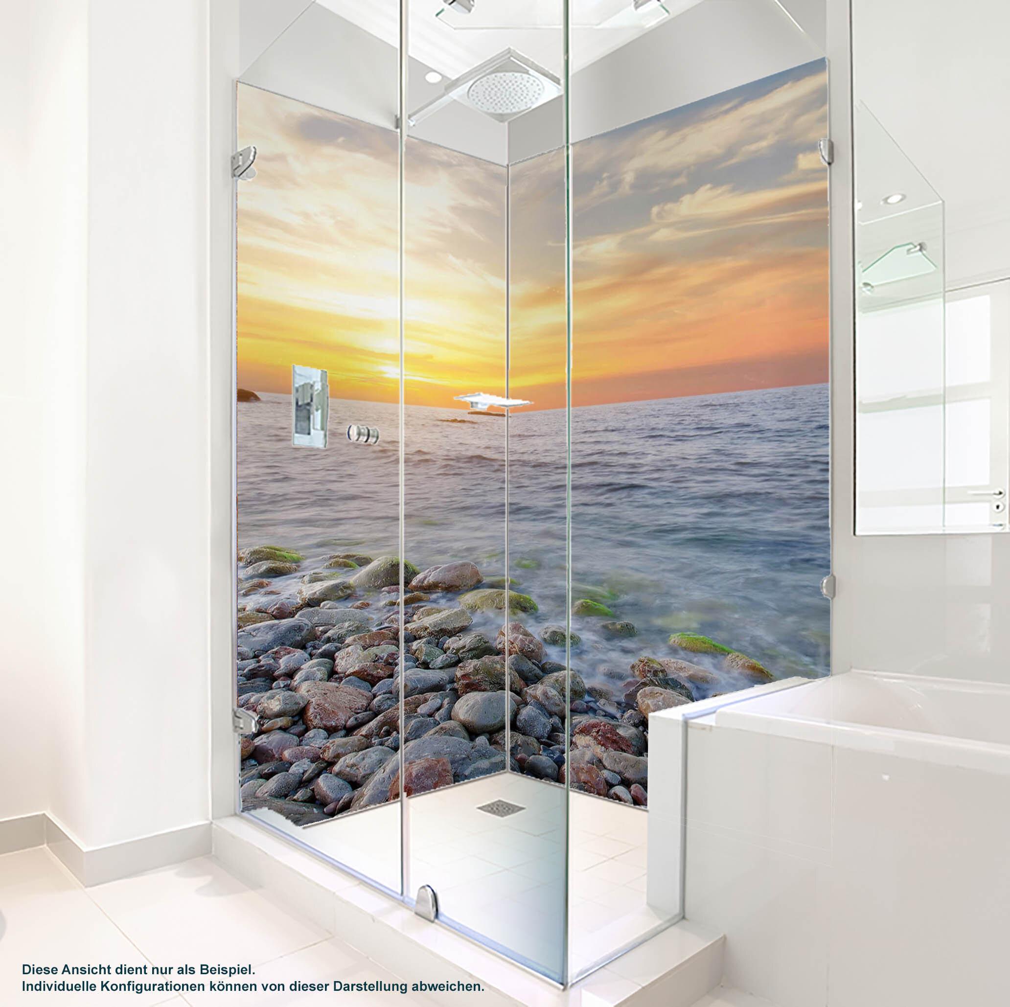 Dusche PlateART Duschrückwand mit Motiv Strand und Meer Ostsee Kies Strand