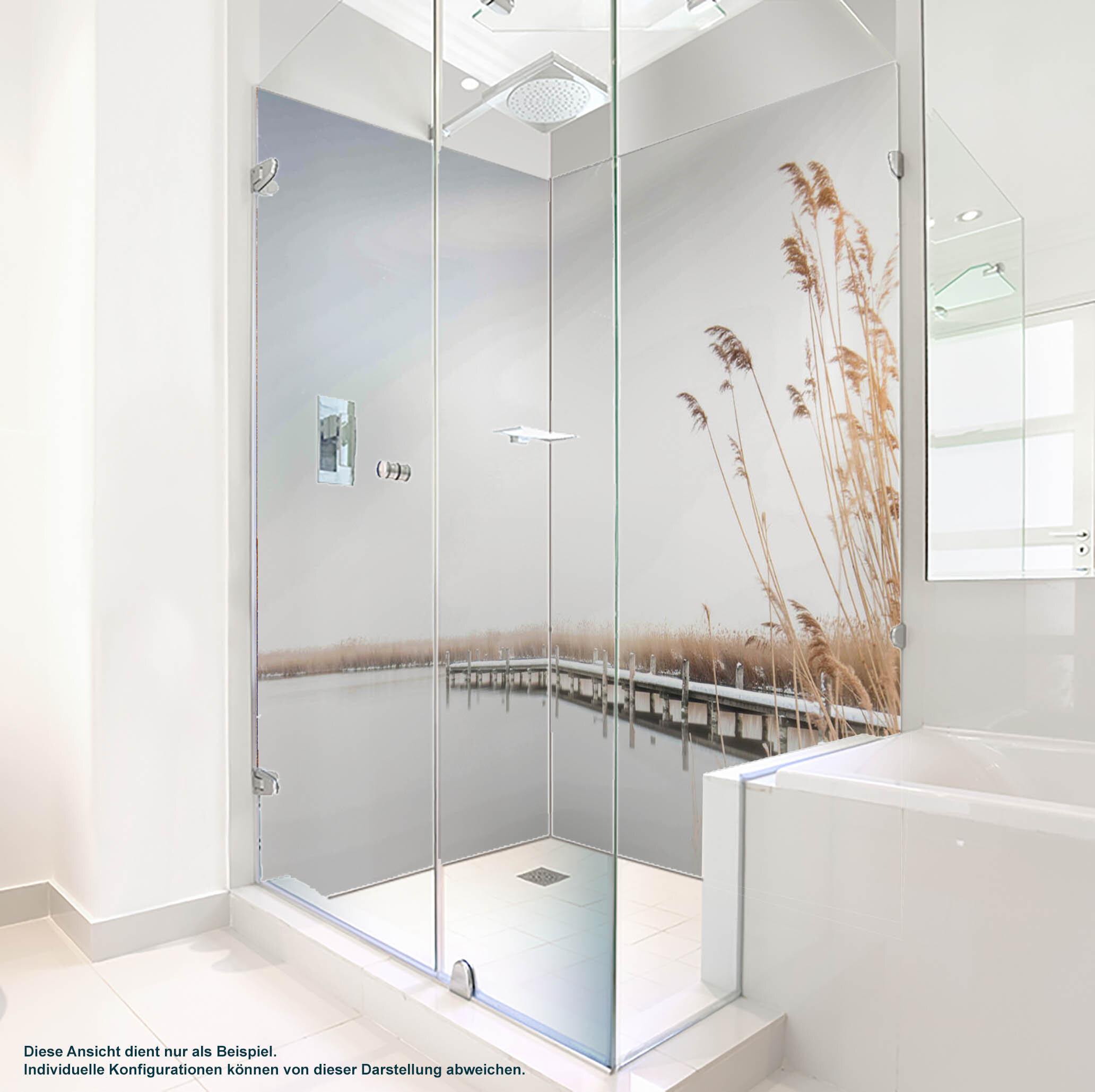 Dusche PlateART Duschrückwand mit Motiv Strand und Meer Steg Winter