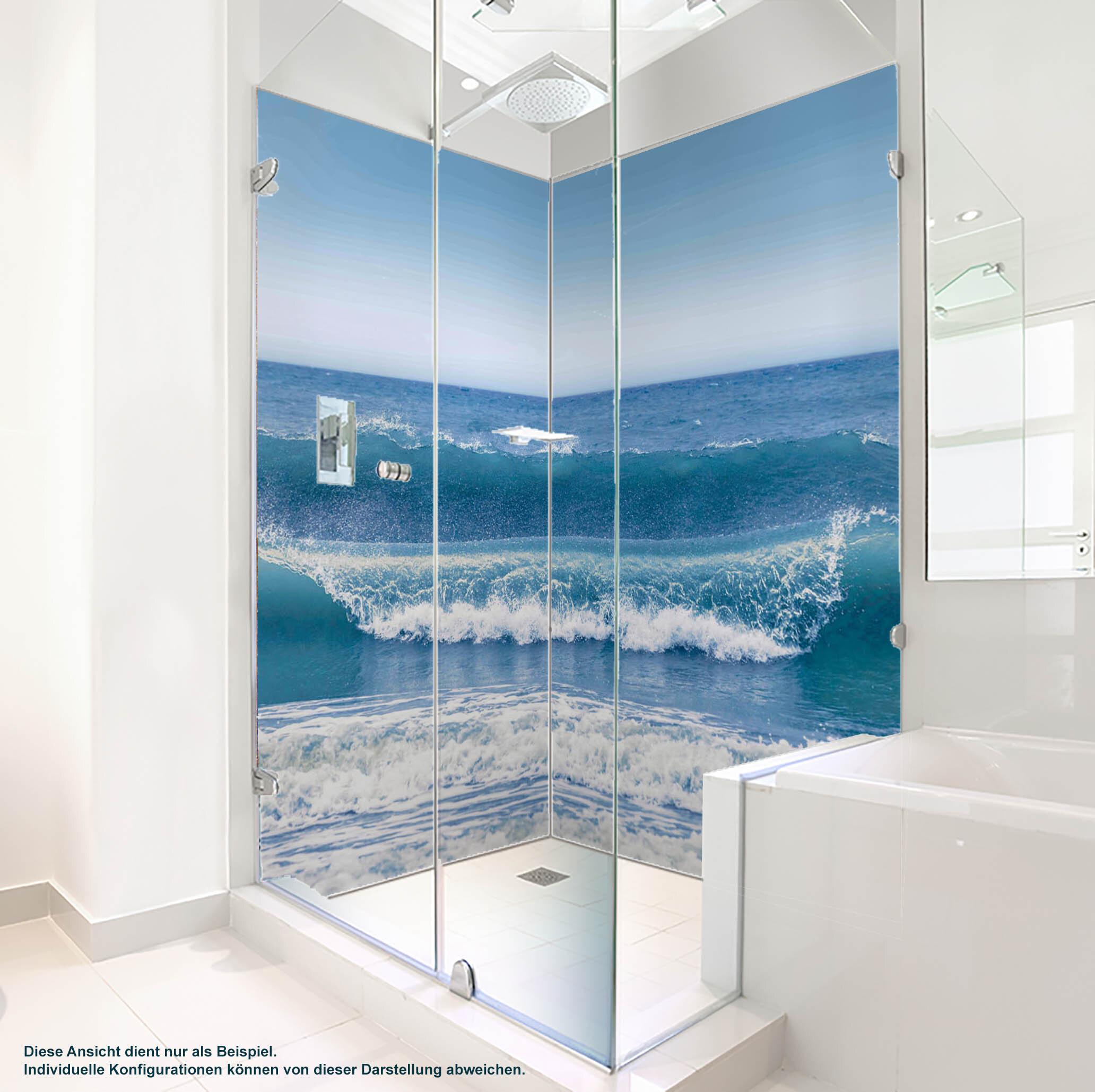 Dusche PlateART Duschrückwand mit Motiv Strand und Meer Wellen