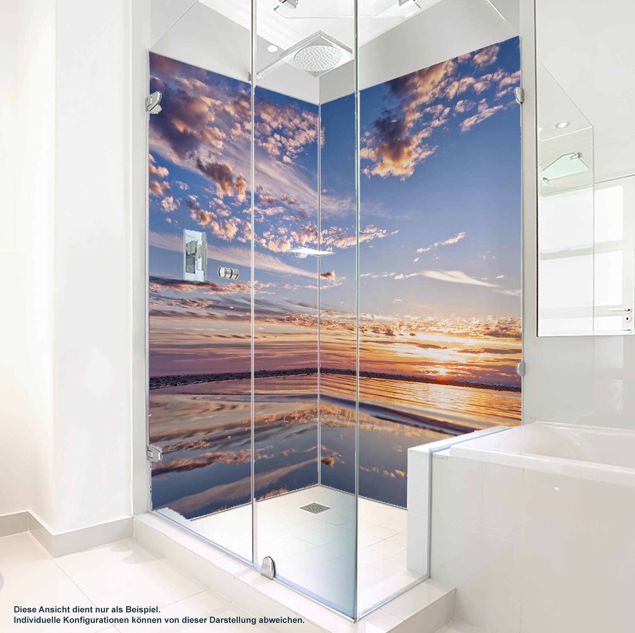Dusche PlateART Duschrückwand mit Motiv Strand und Meer Abendstimmung