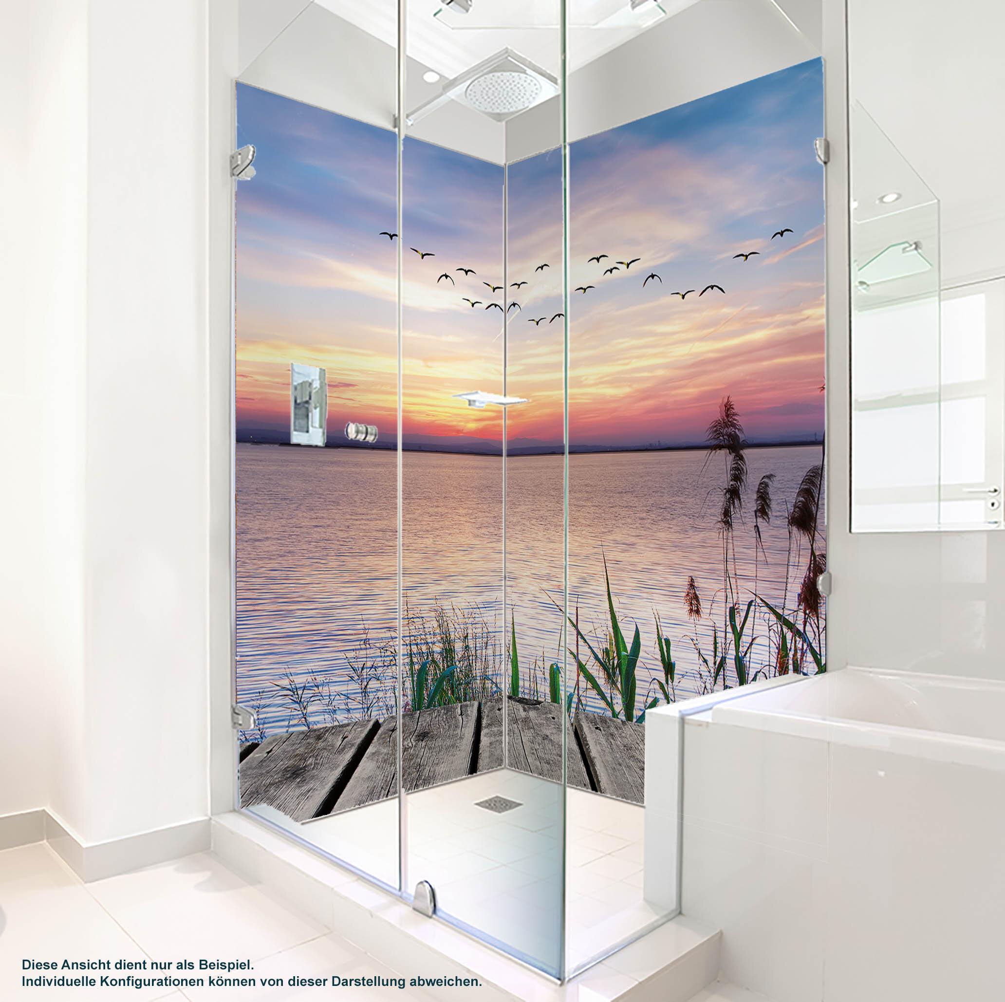 Dusche PlateART Duschrückwand mit Motiv Strand und Meer Steg Abendsonne