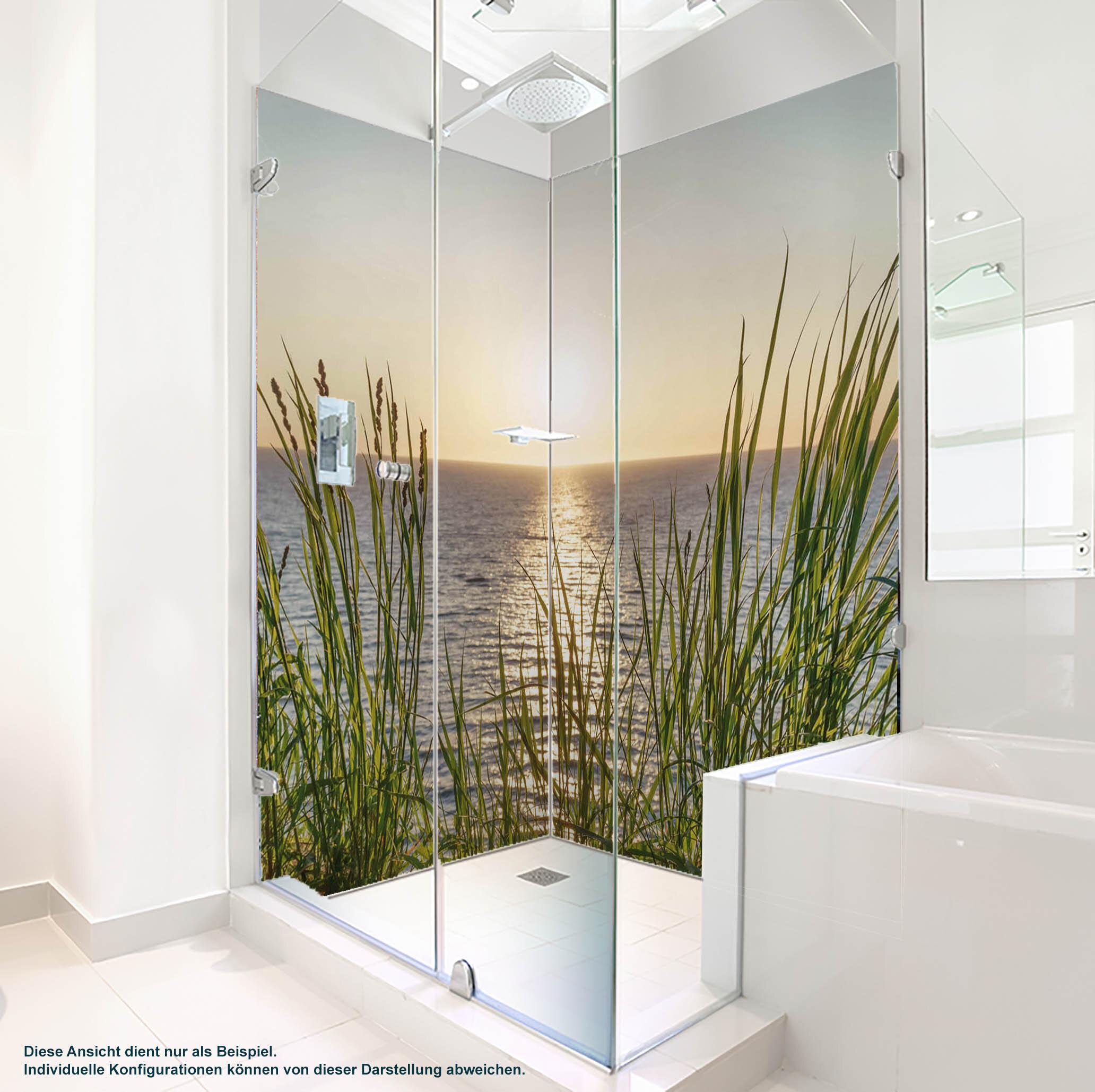 Dusche PlateART Duschrückwand mit Motiv Strand und Meer Sonnenuntergang