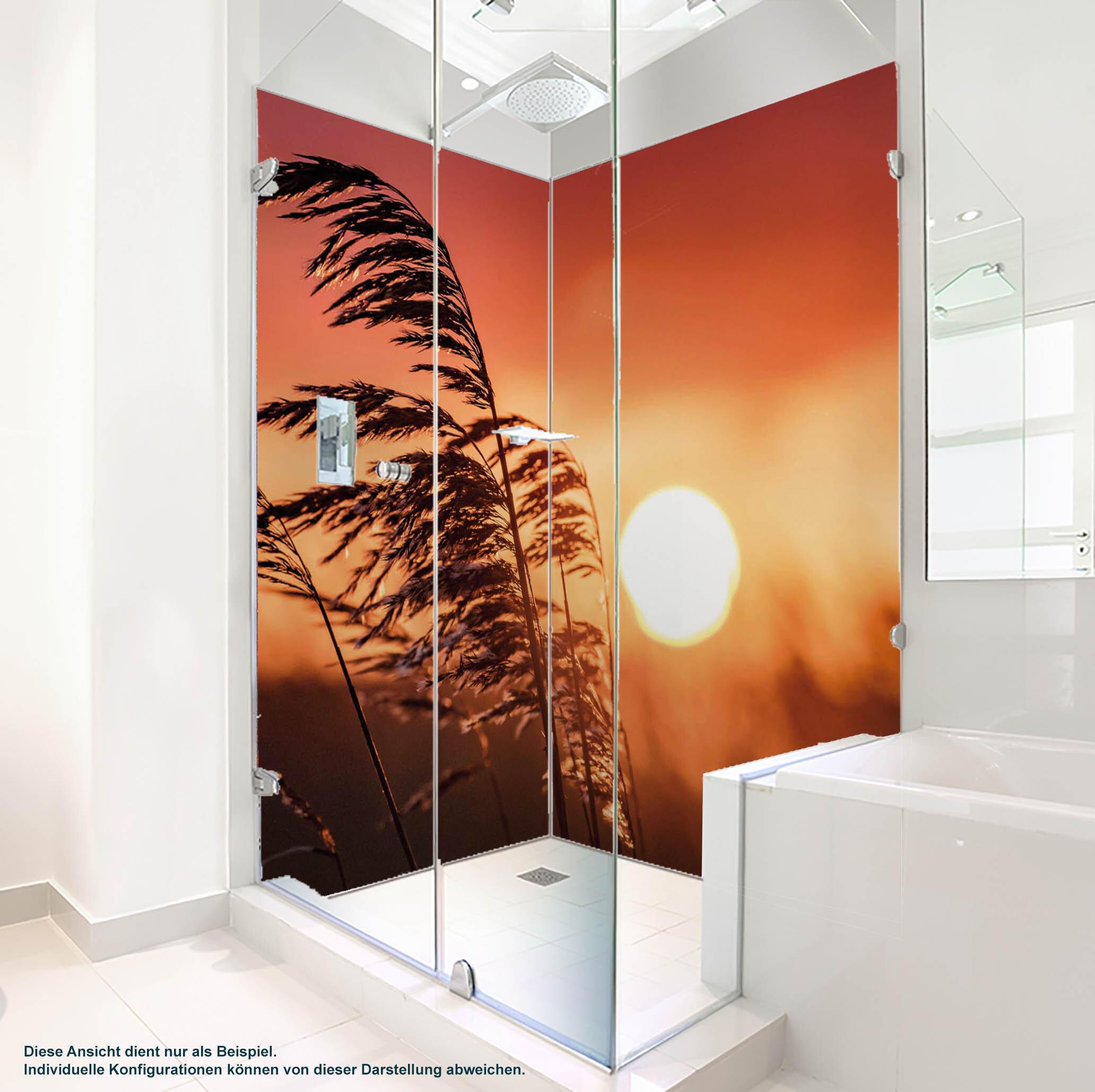 Dusche PlateART Duschrückwand mit Motiv Strand und Meer Dünengras Sonne