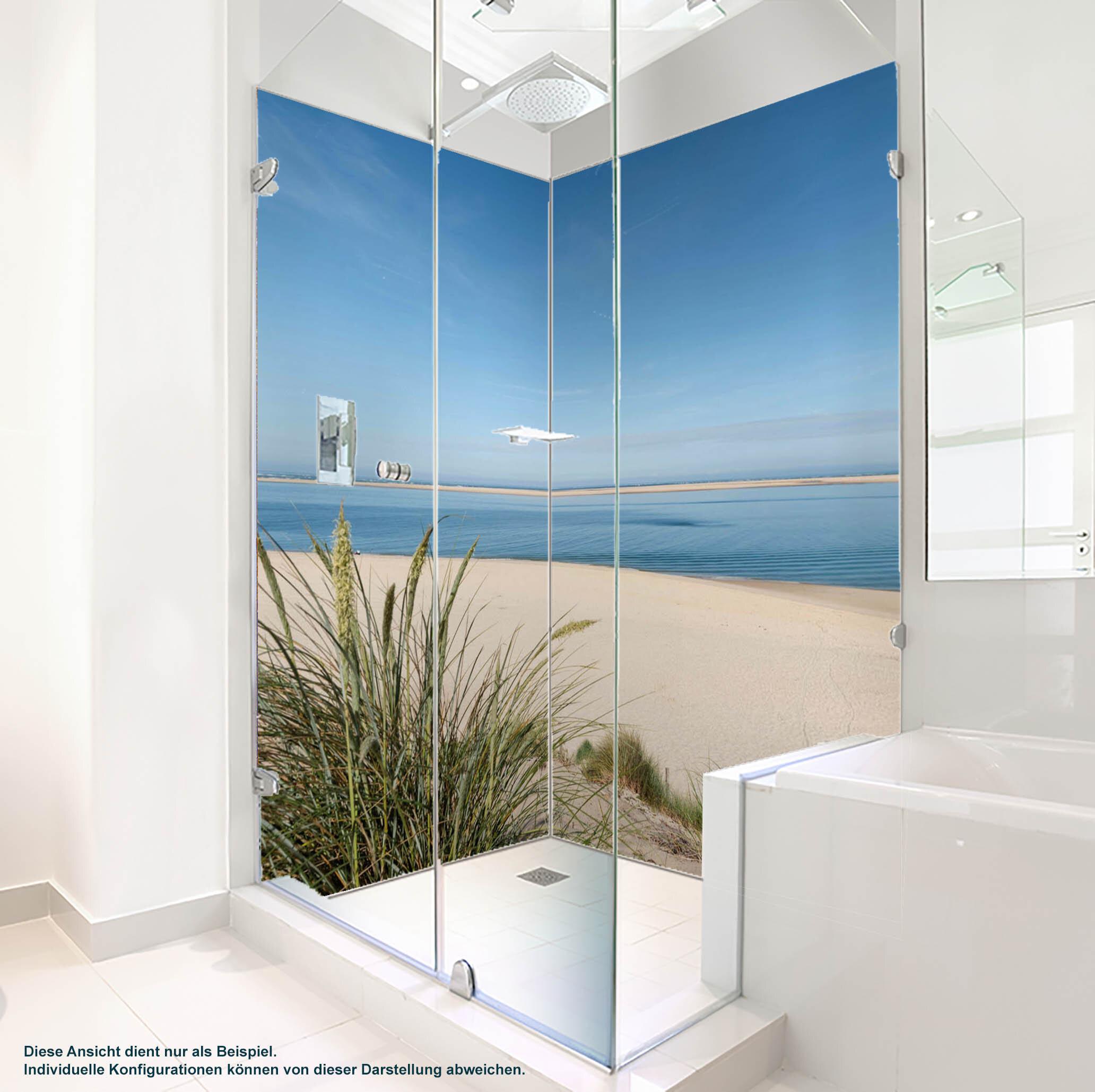 Dusche PlateART Duschrückwand mit Motiv Strand und Meer Ostsee Düne