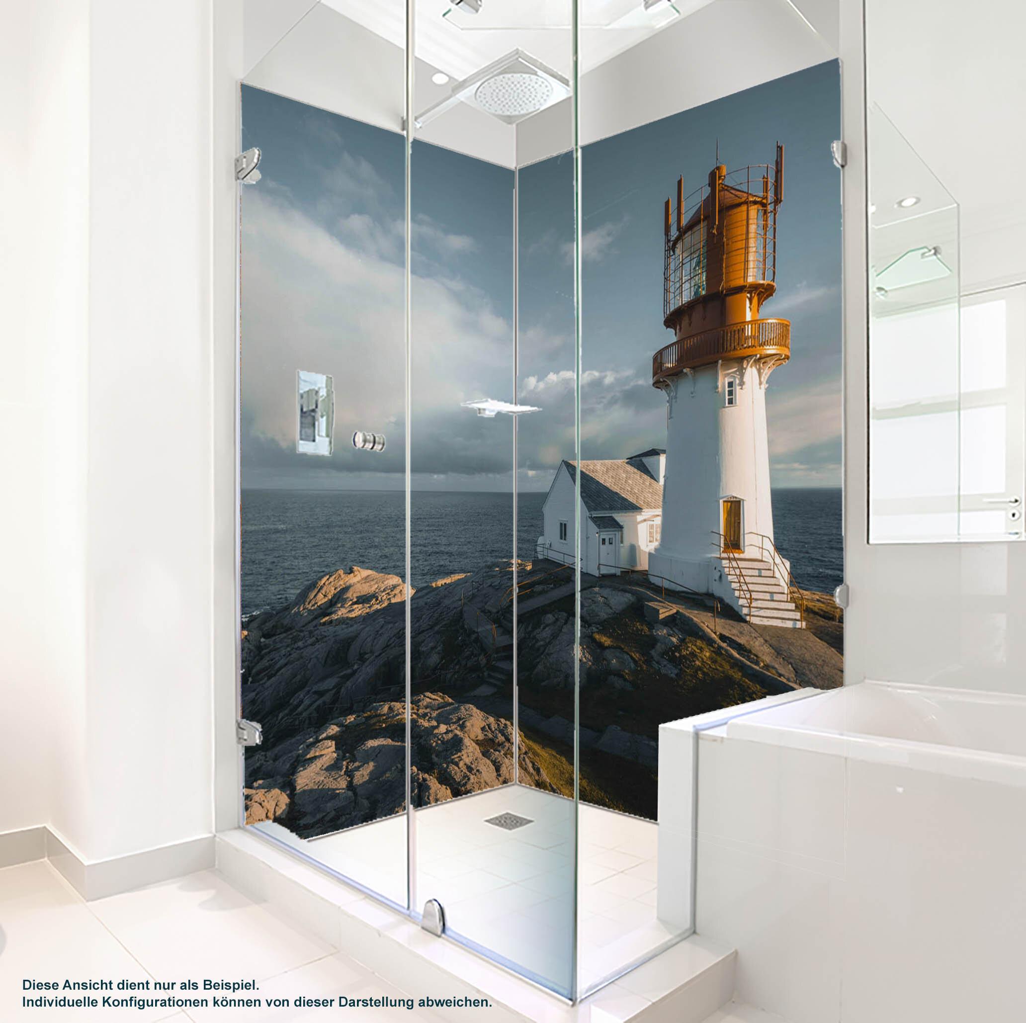 Dusche PlateART Duschrückwand mit Motiv Strand und Meer Leuchtturm Felsen