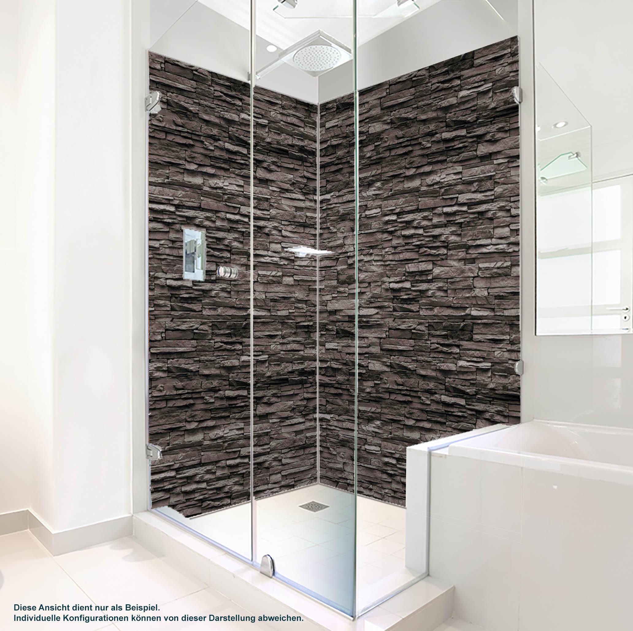 Dusche PlateART Duschrückwand mit Motiv Stein Rotbraun