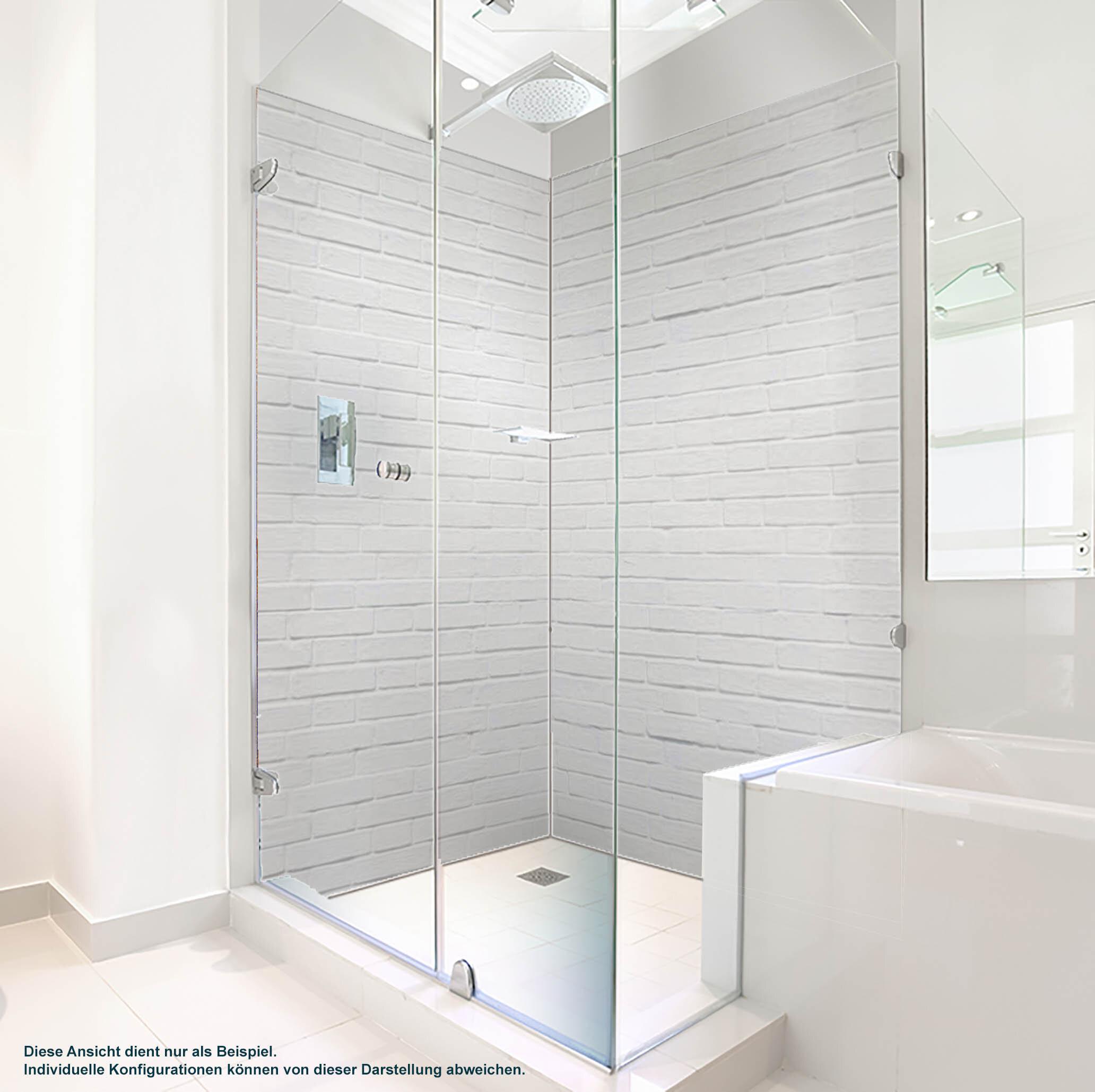 Dusche PlateART Duschrückwand mit Motiv Steinwand Weiß