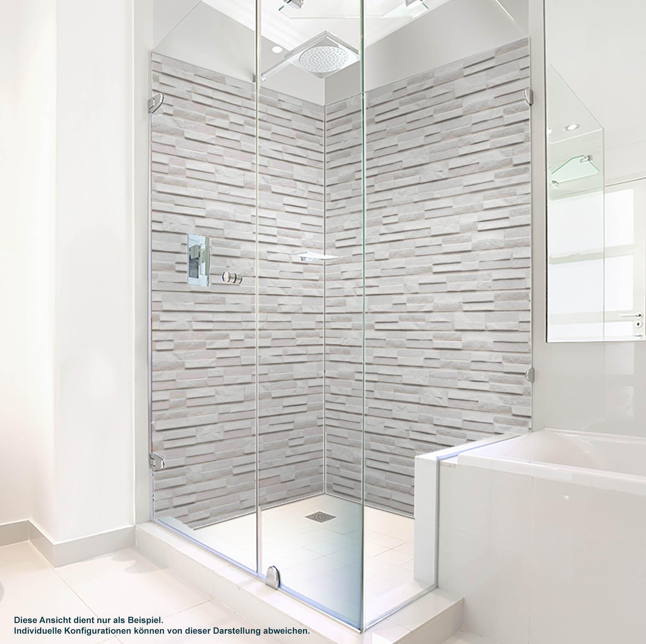 Dusche PlateART Duschrückwand mit Motiv Stein Marmor Weiß