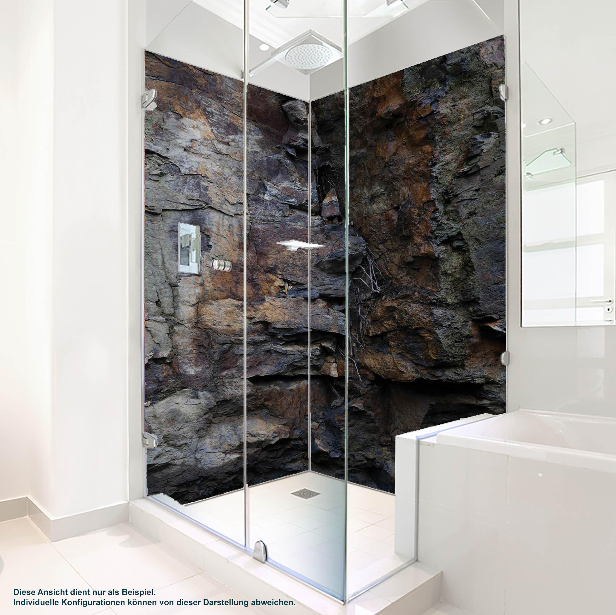 Dusche PlateART Duschrückwand mit Motiv Steinwand Fels