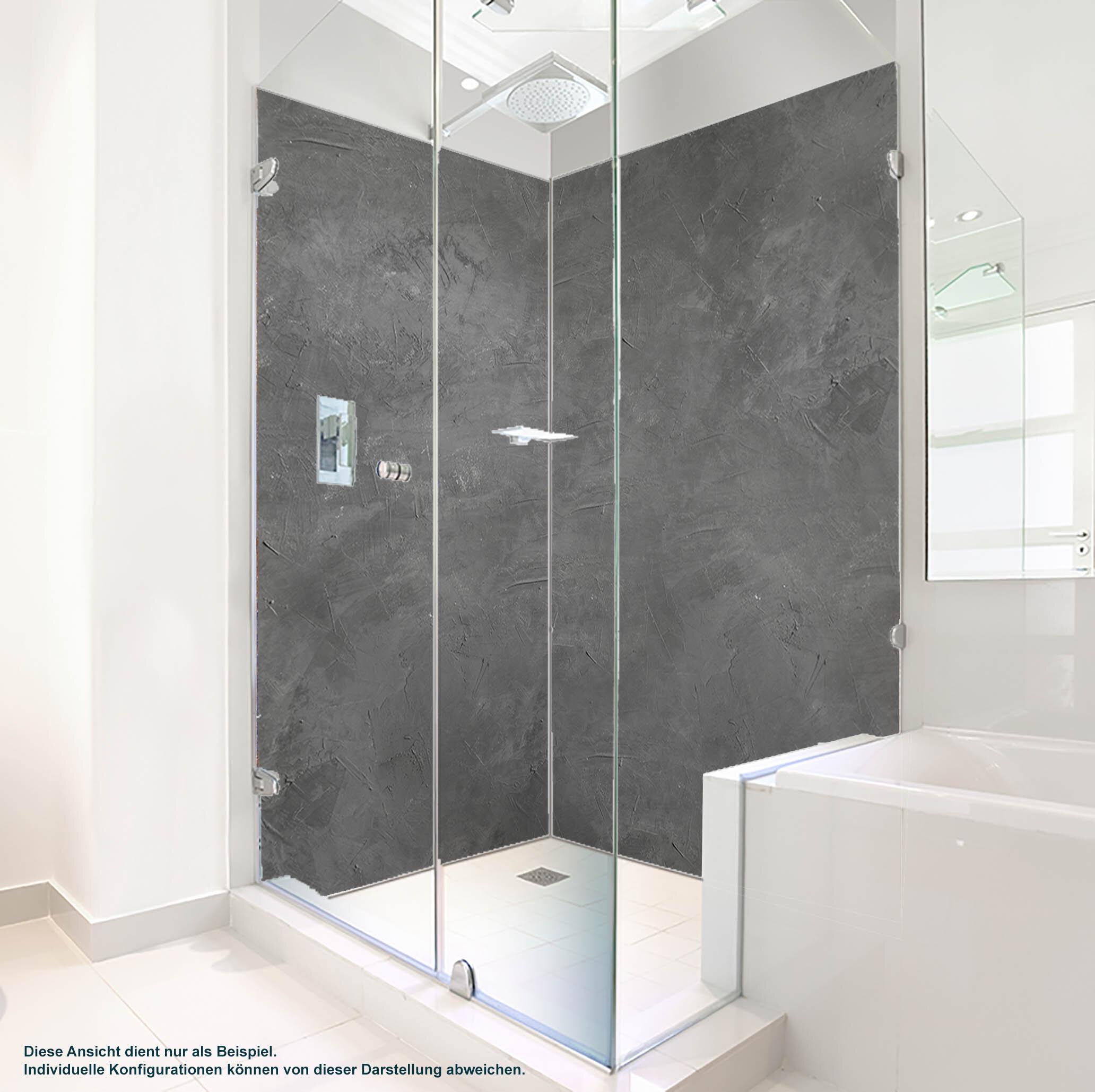 Dusche PlateART Duschrückwand mit Motiv Beton Grau Rohputz