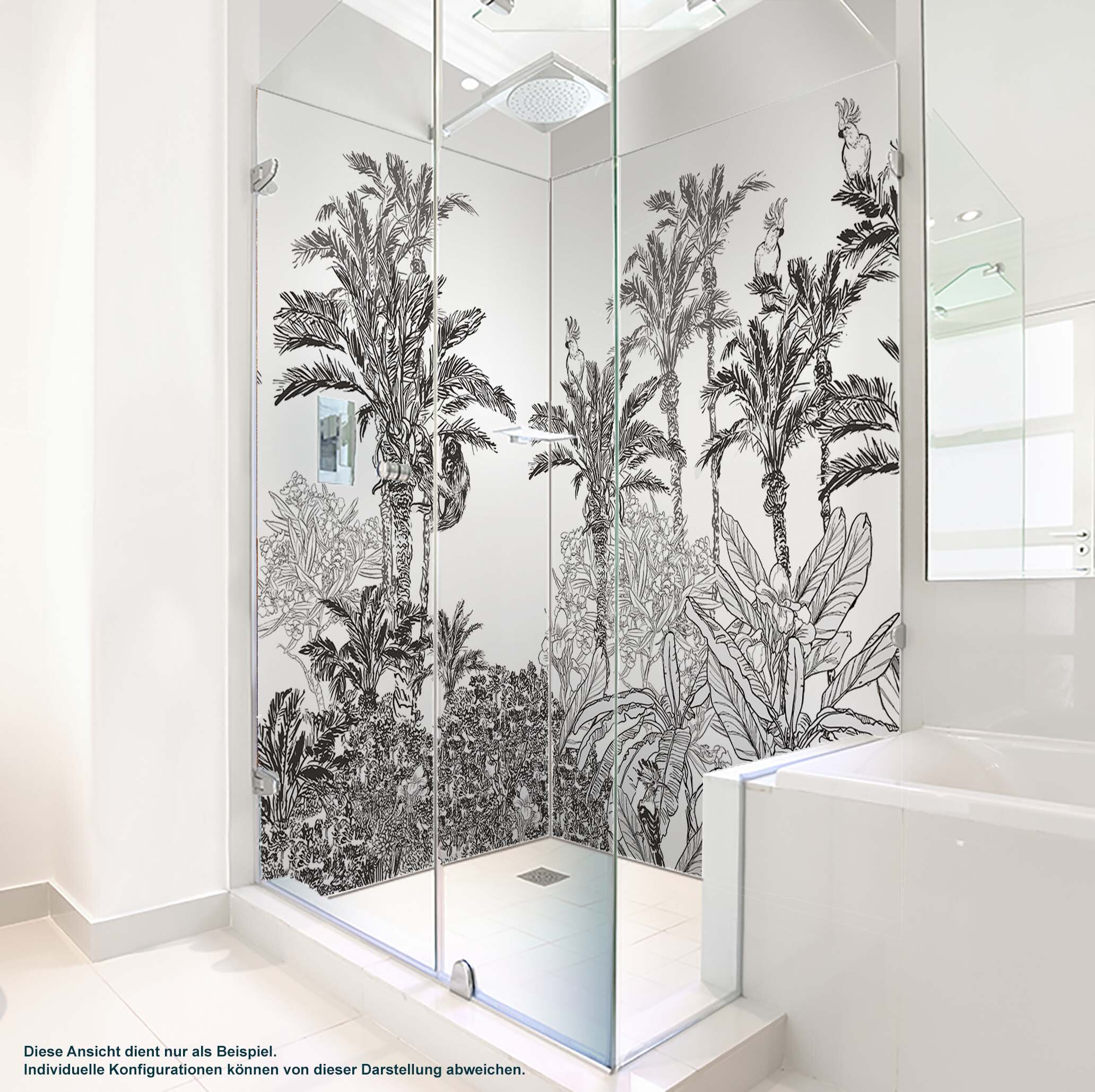 Dusche PlateART Duschrückwand mit Motiv Schwarz Weiß Dschungel