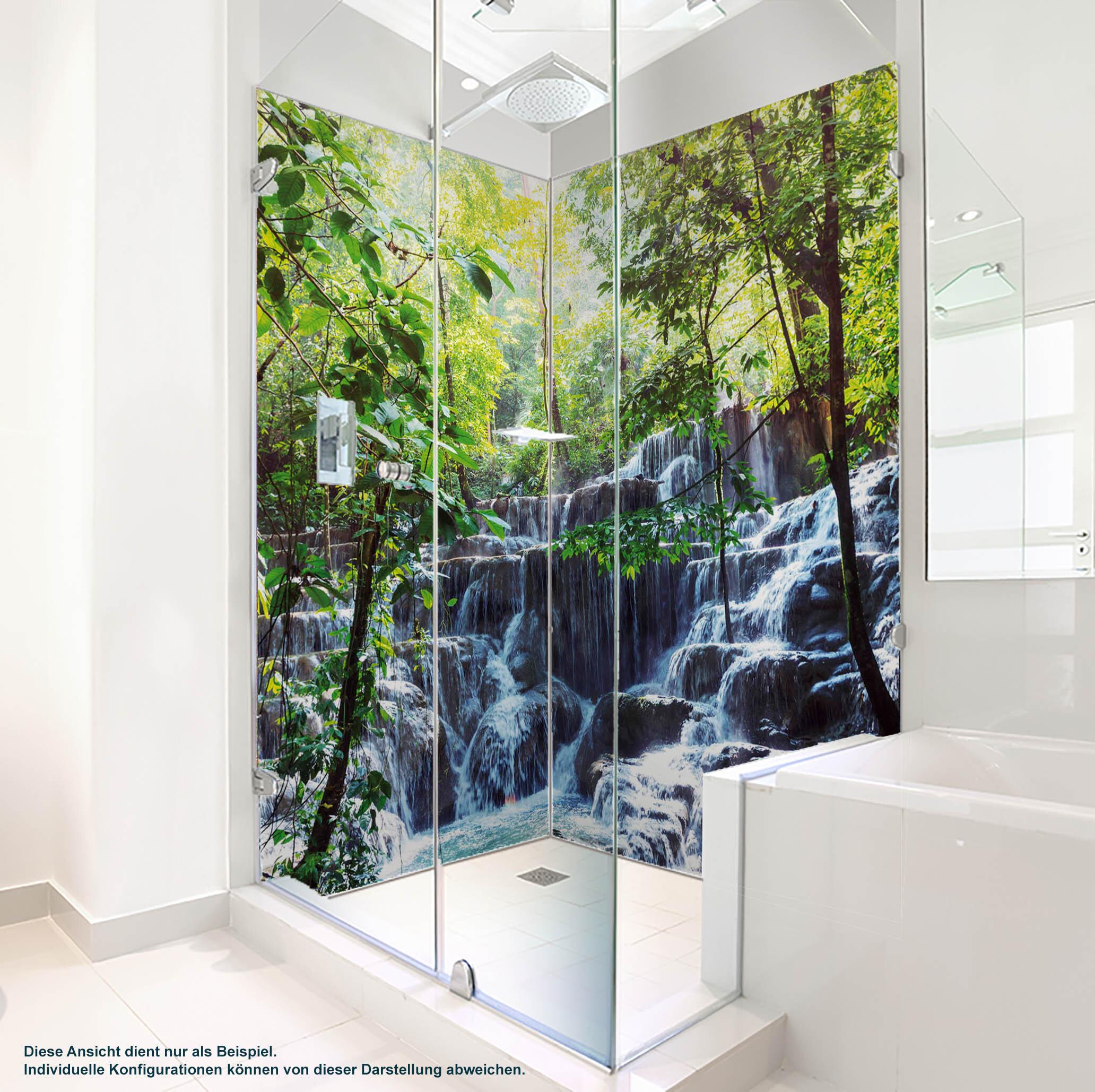 Dusche PlateART Duschrückwand mit Motiv Wasserfall