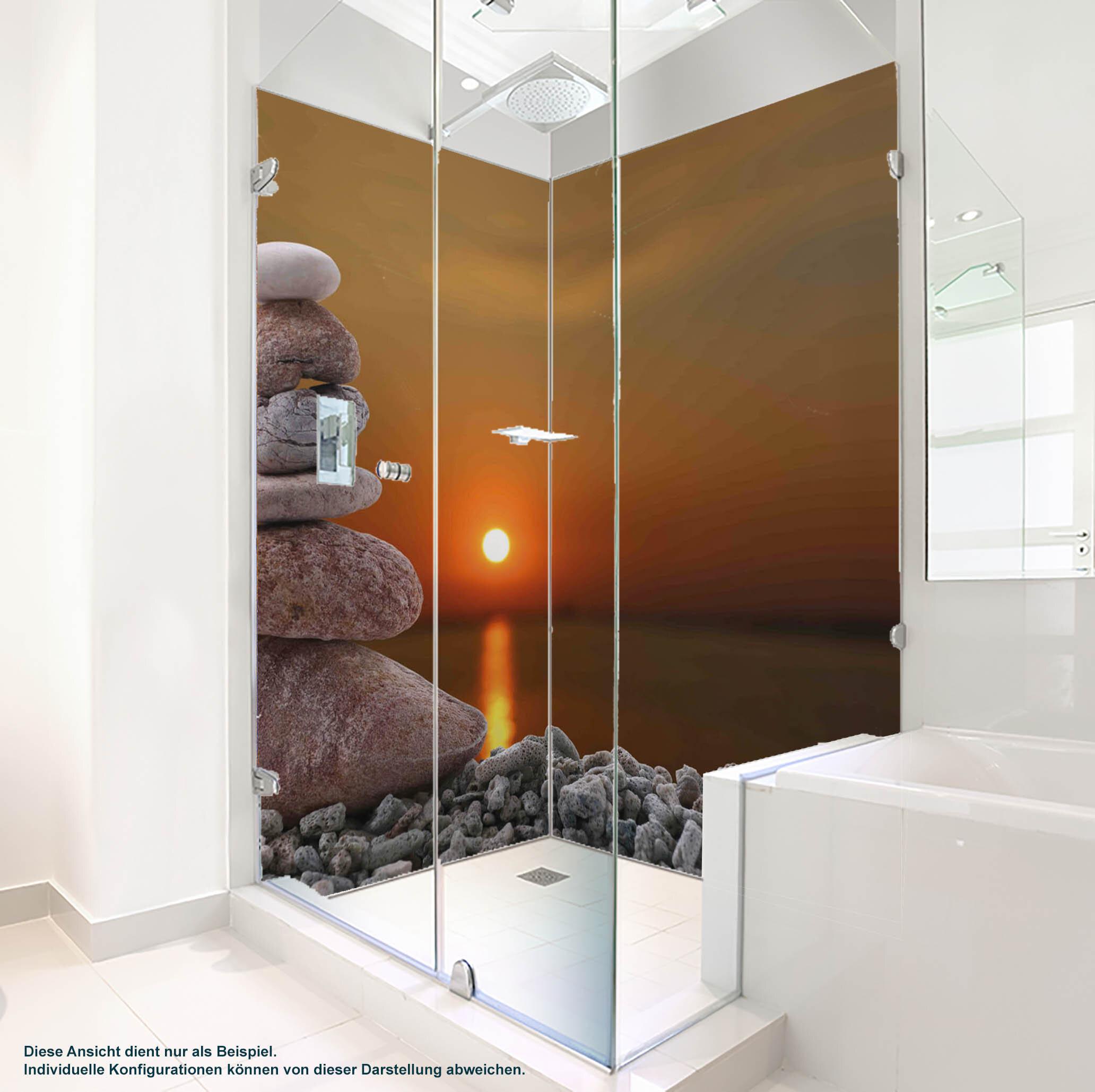 Dusche PlateART Duschrückwand mit Motiv Wellness ZEN Abendsonne