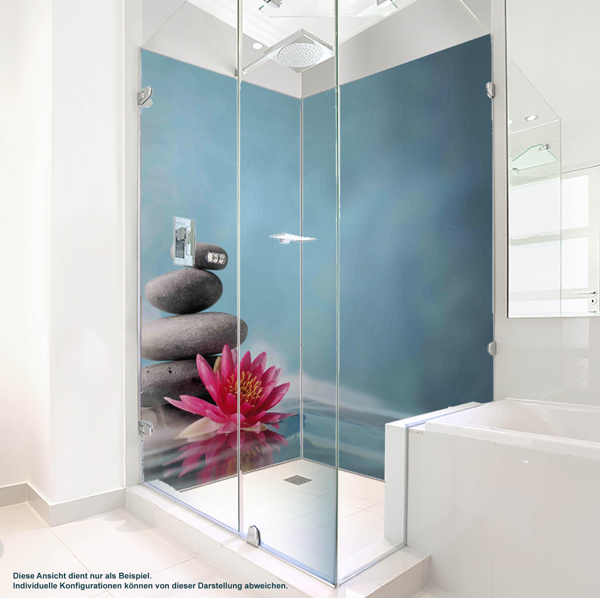 Dusche PlateART Duschrückwand mit Motiv Wellness ZEN Steine Blüte
