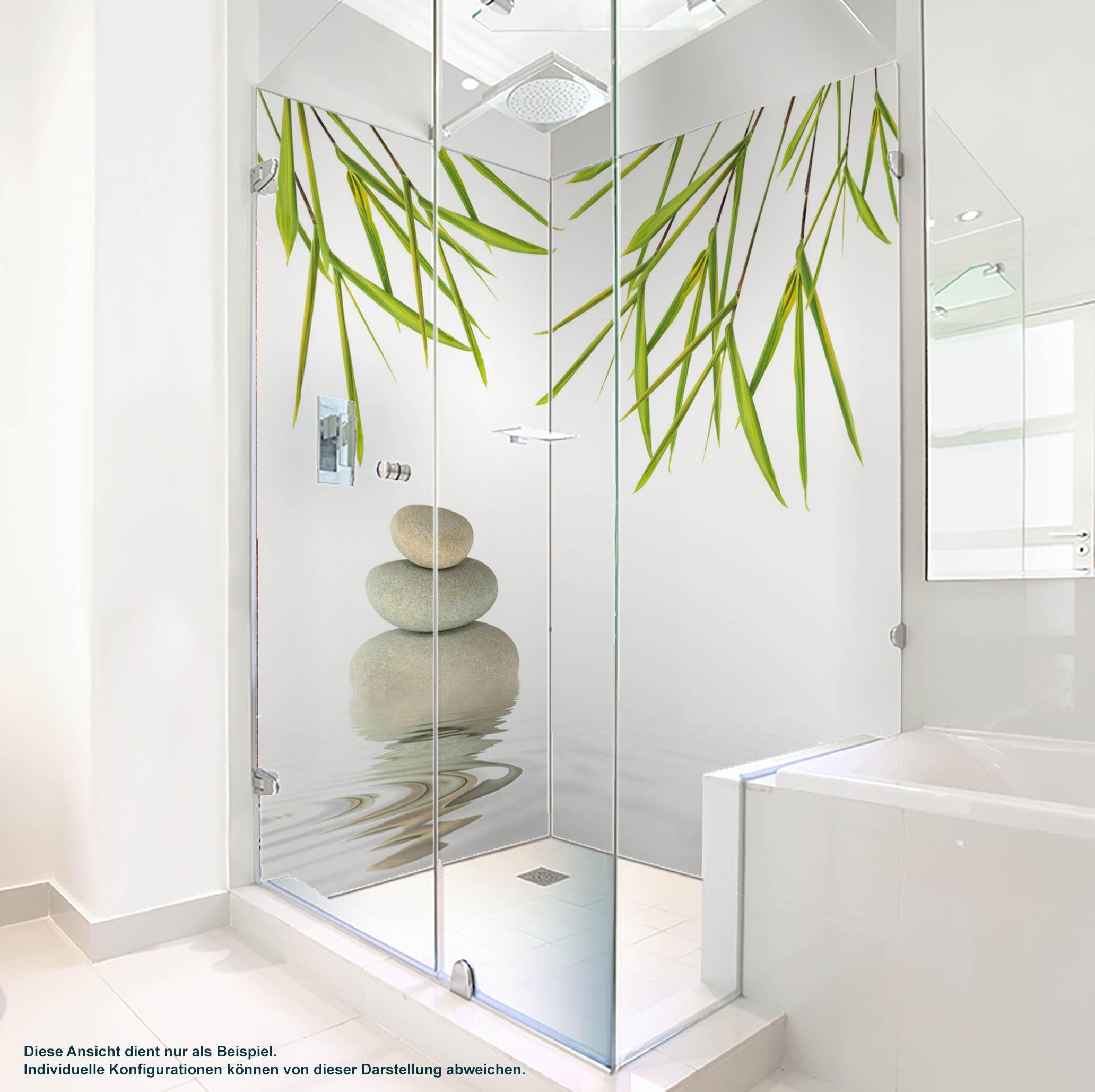 Dusche PlateART Duschrückwand mit Motiv Wellness ZEN Blätter