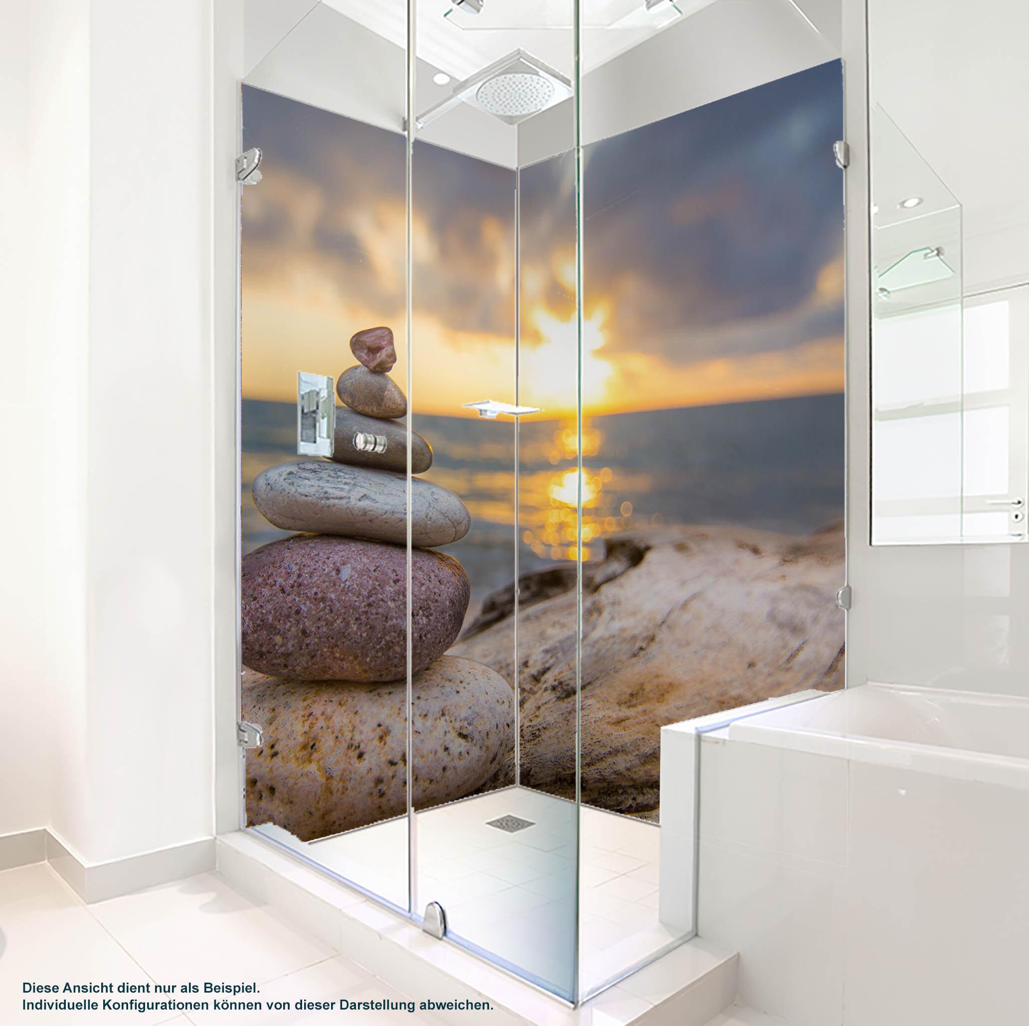 Dusche PlateART Duschrückwand mit Motiv Wellness Treibholz