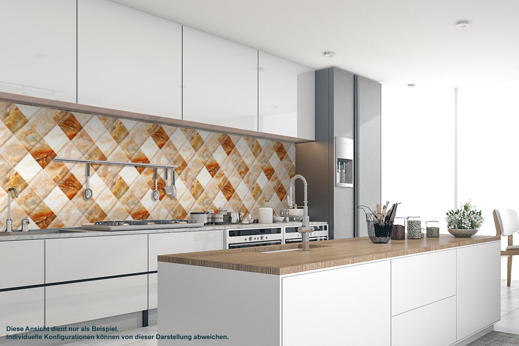 Küche  PlateART Küchenrückwand mit Motiv Marmor Beige Kacheln