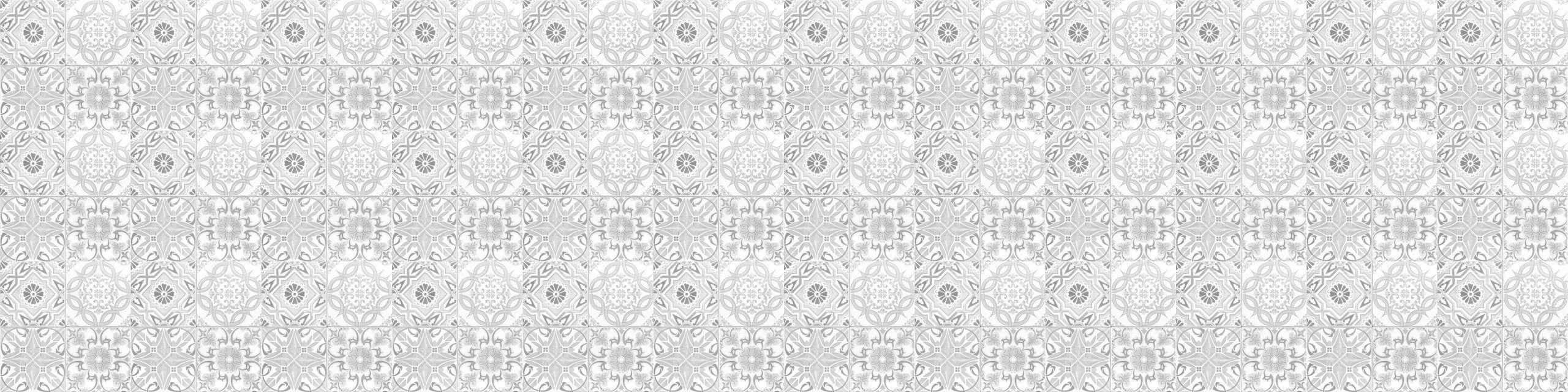 PlateART Küchenrückwand mit Motiv Kachel Hellgrau Ornament
