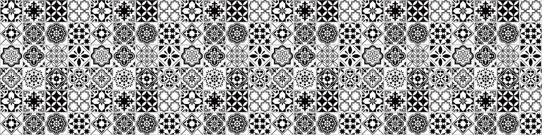 PlateART Küchenrückwand mit Motiv Kacheln Schwarz Weiß