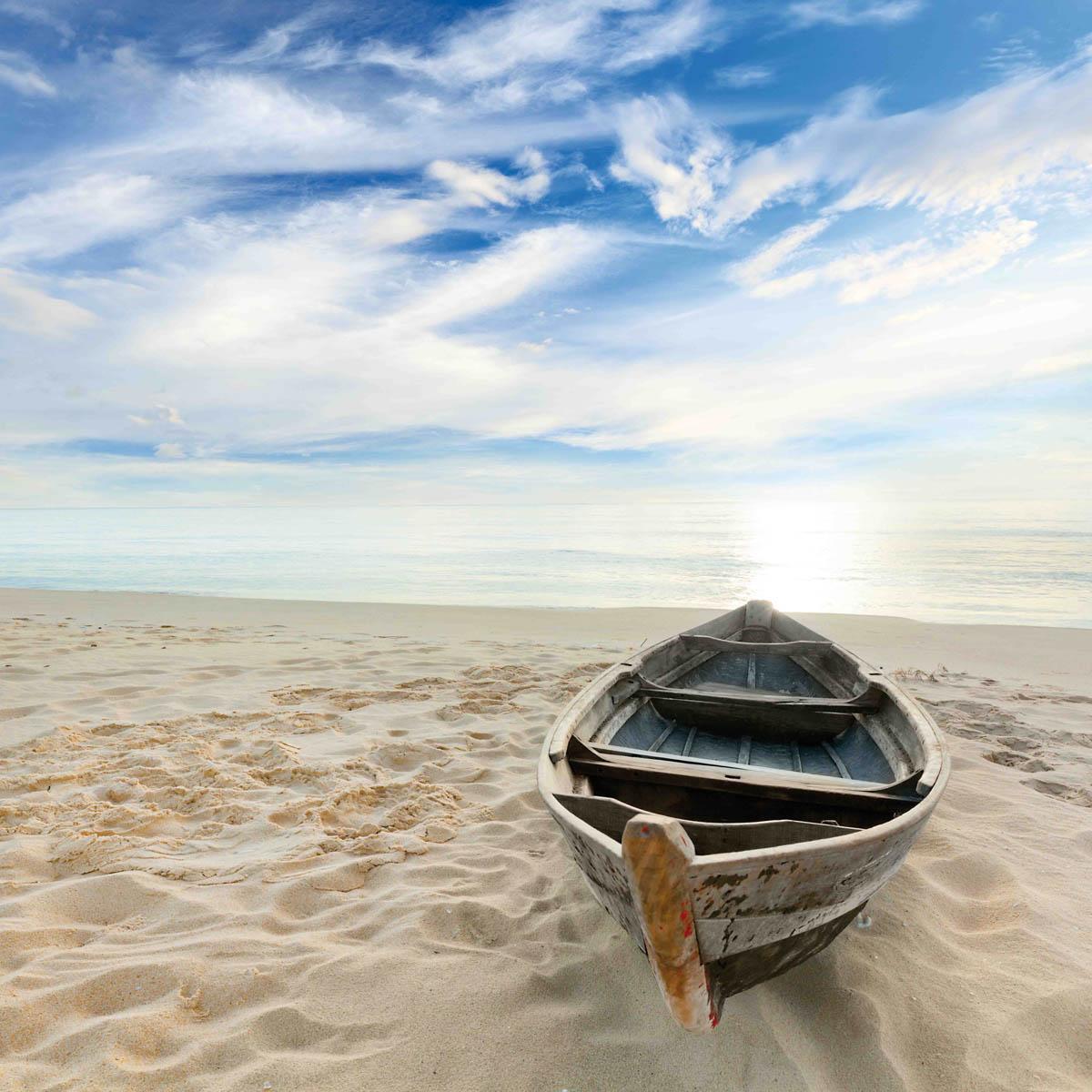 PlateART Duschrückwand mit Motiv Strand und Meer Karibik Boot