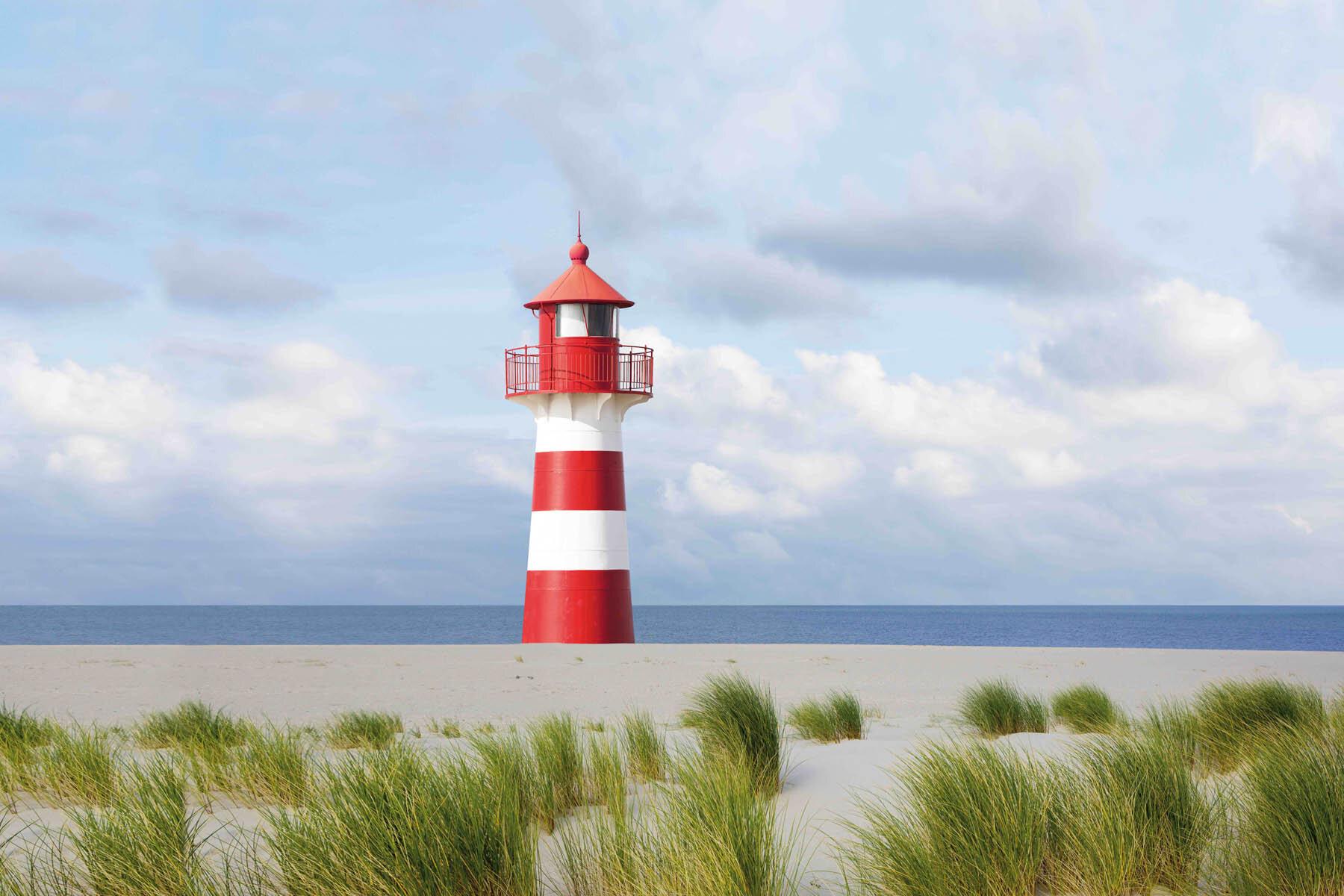 PlateART Duschrückwand mit Motiv Strand und Meer Leuchtturm