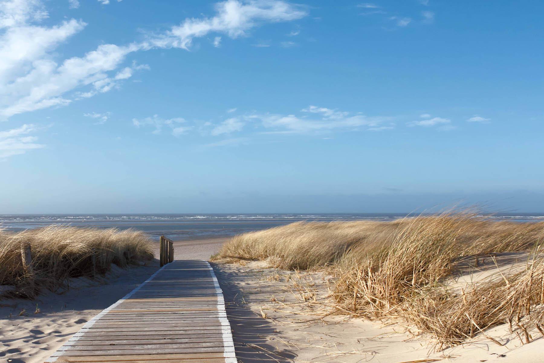 PlateART Duschrückwand mit Motiv Strand und Meer Steg Langeoog