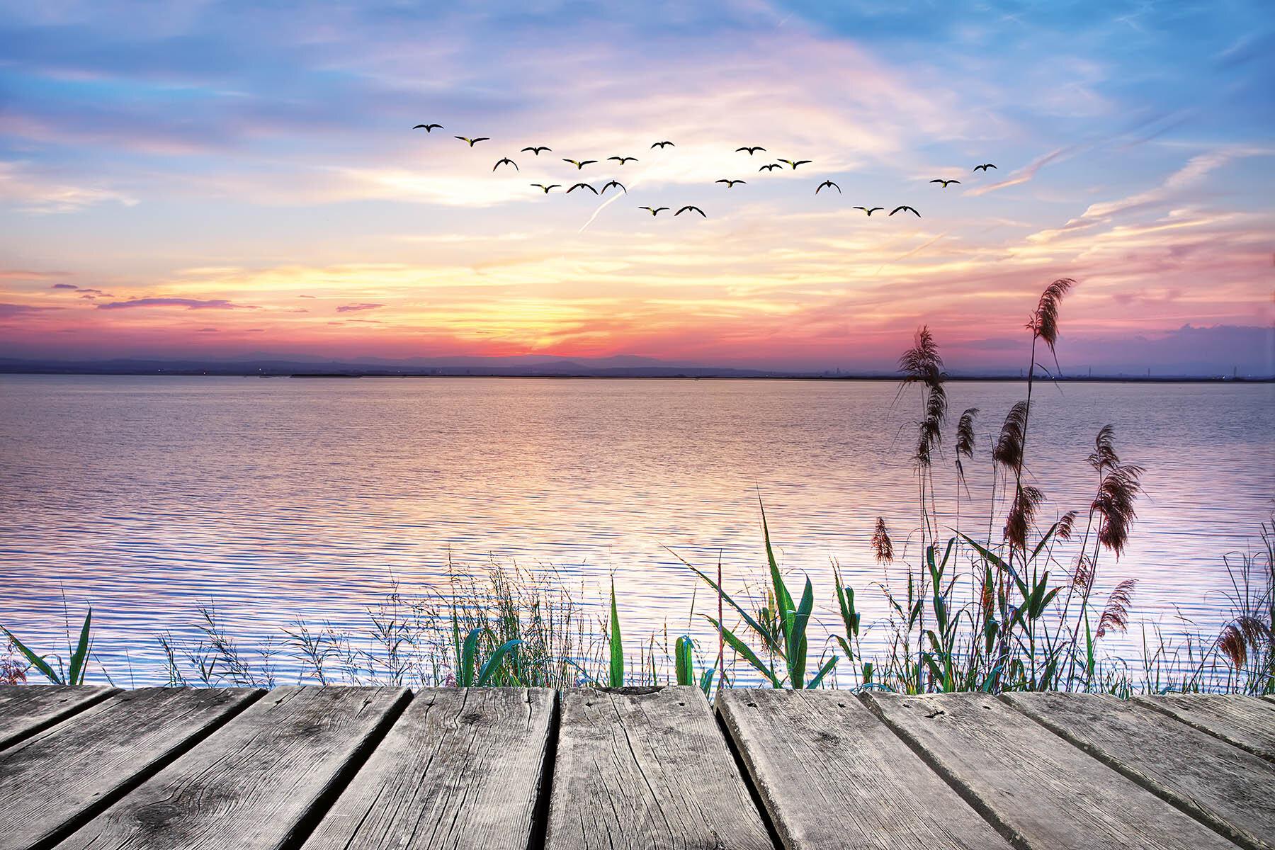 PlateART Duschrückwand mit Motiv Strand und Meer Steg Abendsonne