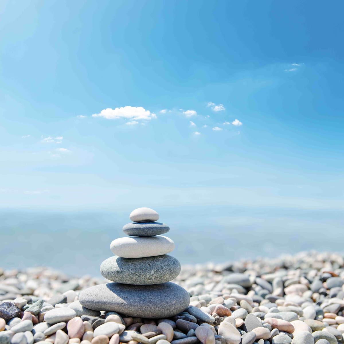 PlateART Duschrückwand mit Motiv Wellness ZEN Steine Kies